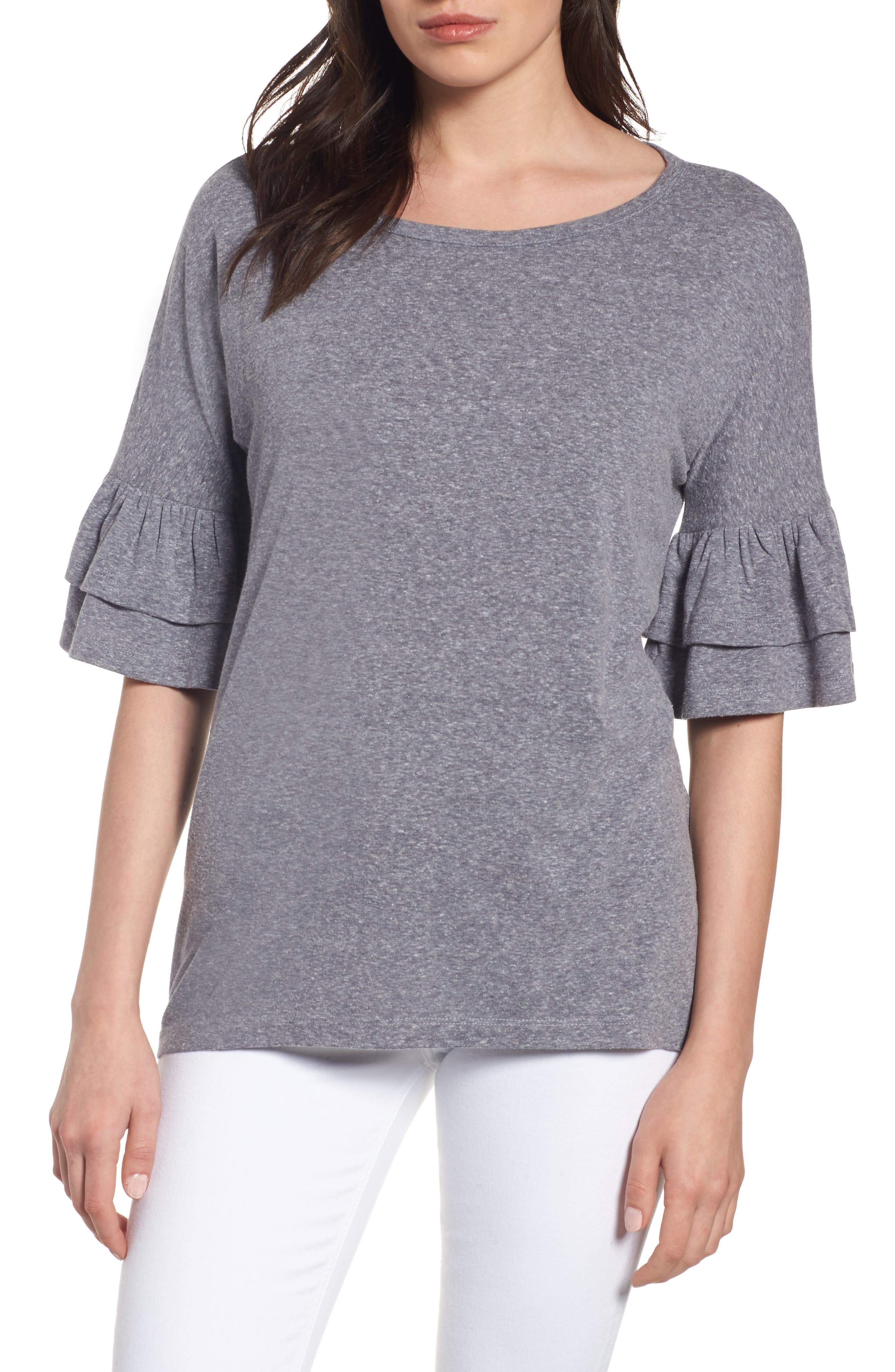 Caslon® Tiered Bell Sleeve Tee (Regular & Petite)