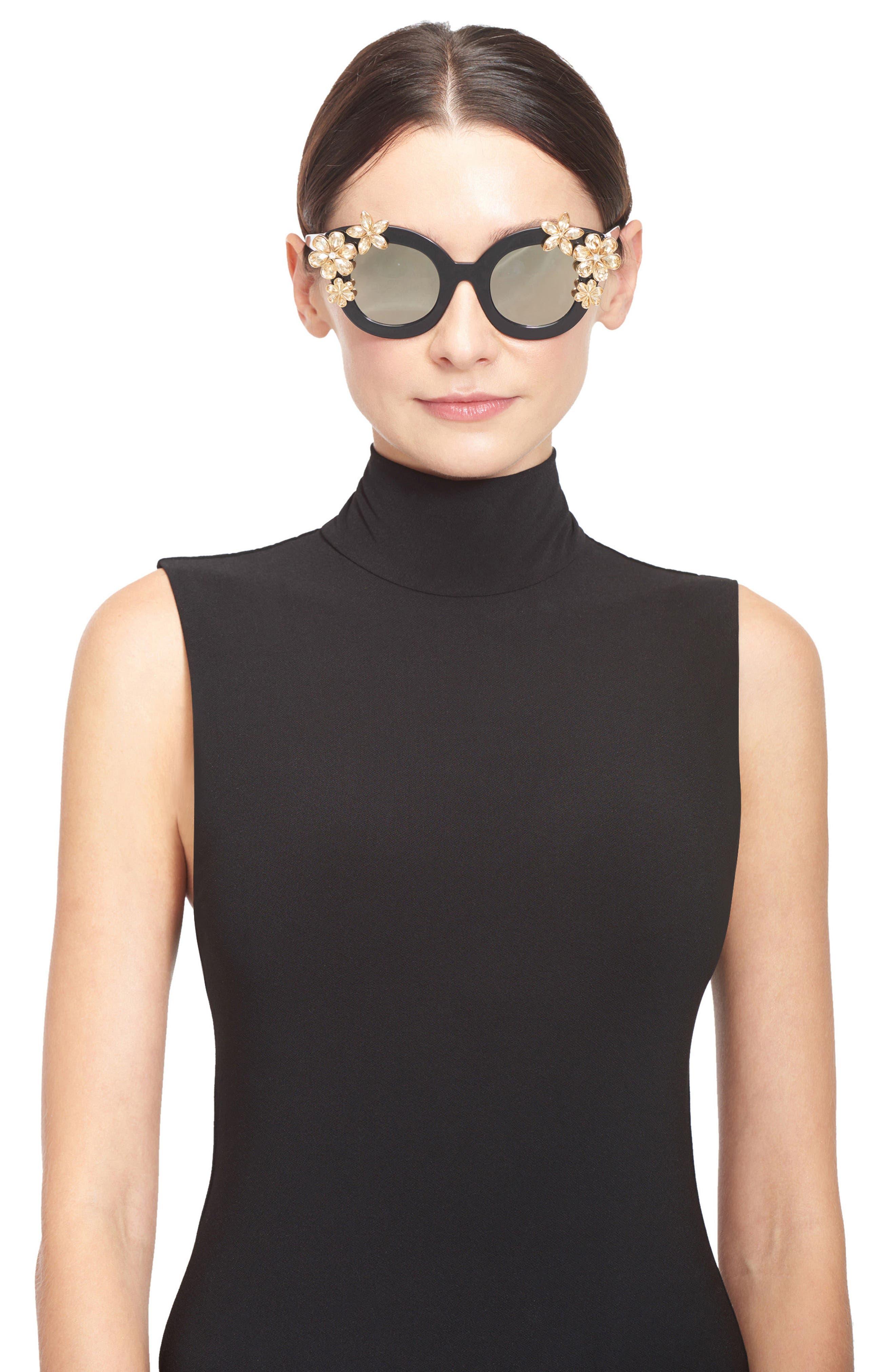 Alternate Image 3  - Alice + Olivia Madison Floral 46mm Gradient Lens Embellished Sunglasses