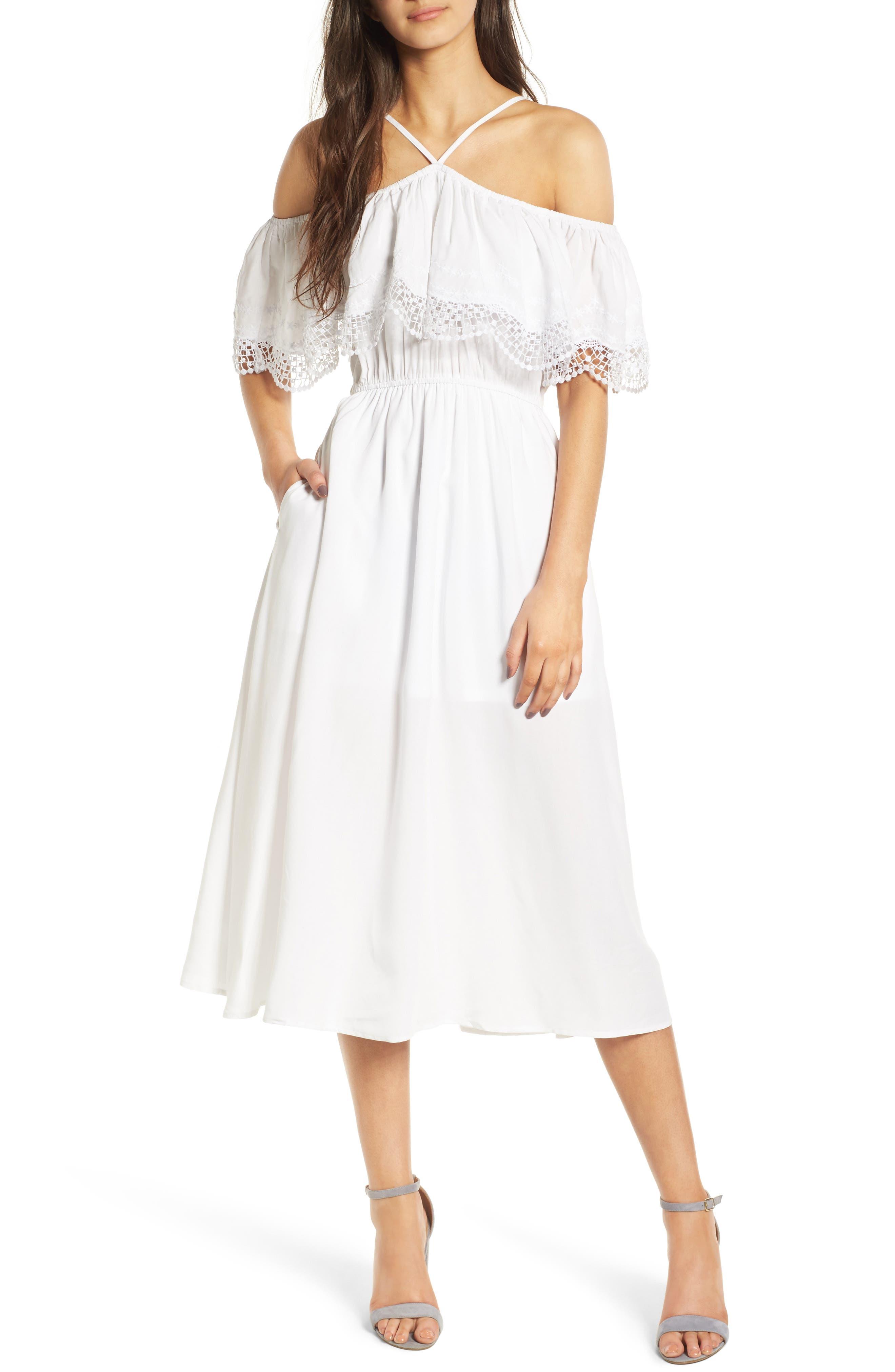 Love, Fire Lace Trim Cold Shoulder Dress