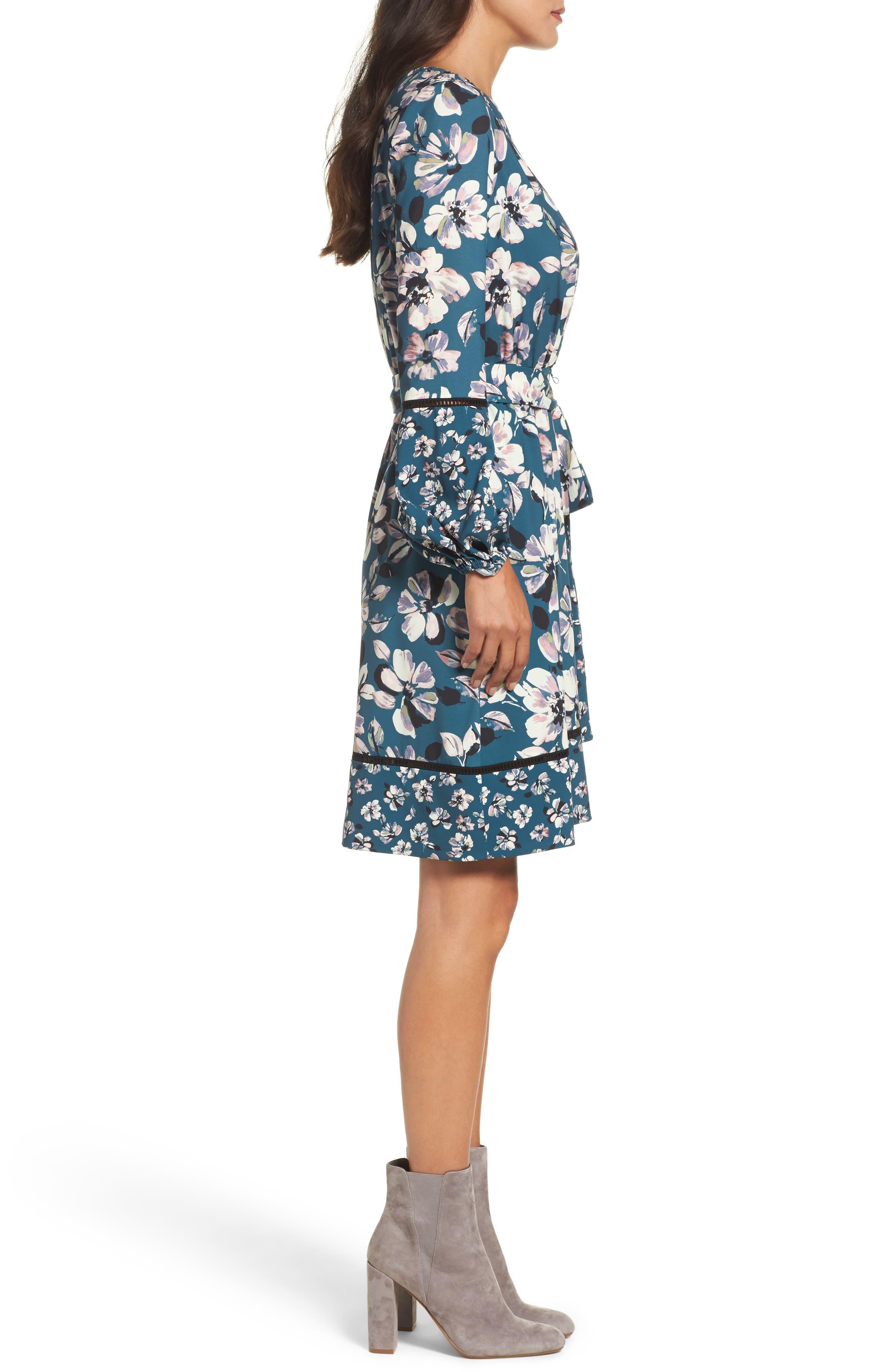Alternate Image 3  - Eliza J Print Bell Sleeve Faux Wrap Dress (Regular & Petite)