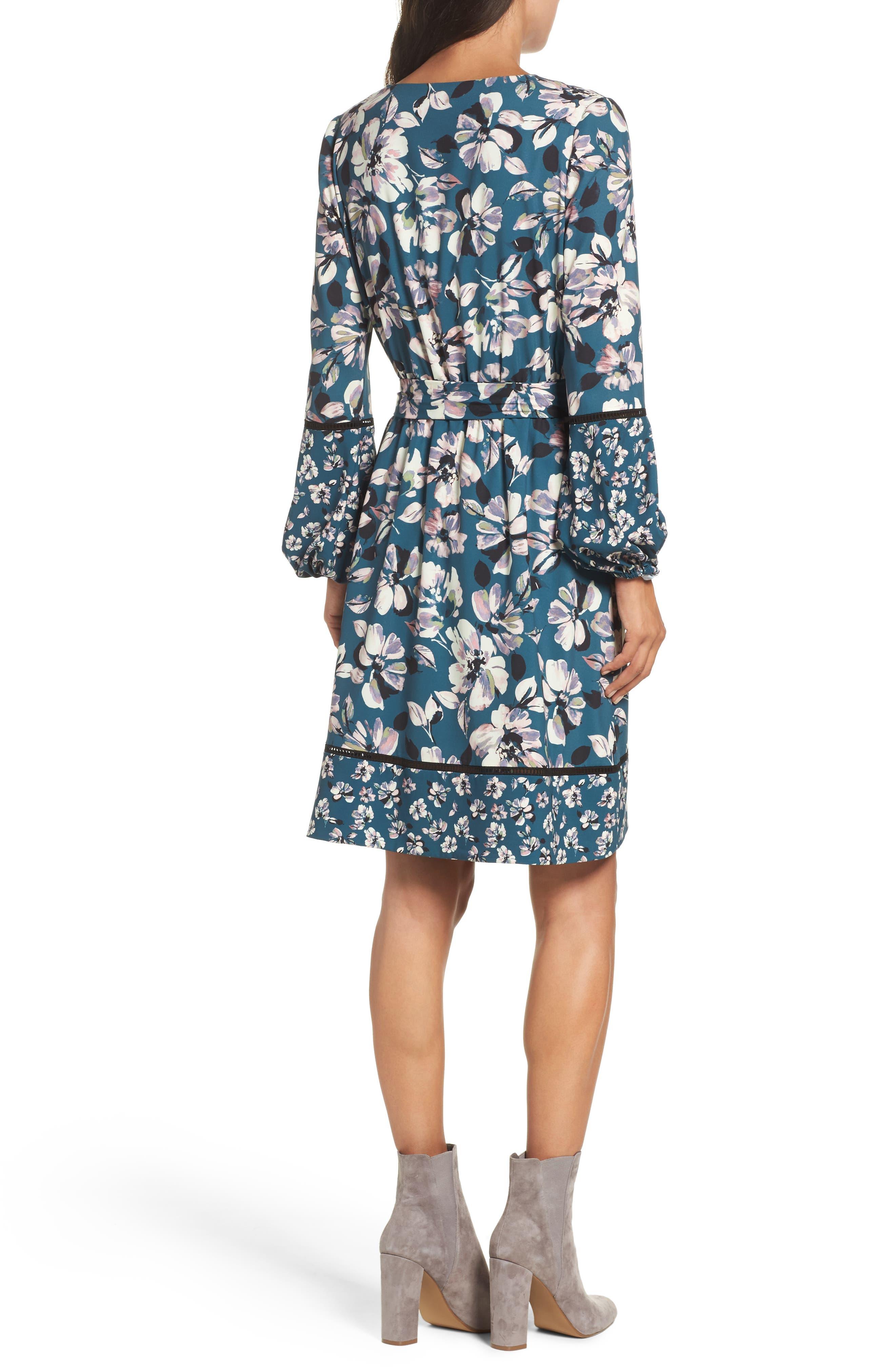 Alternate Image 2  - Eliza J Print Bell Sleeve Faux Wrap Dress (Regular & Petite)