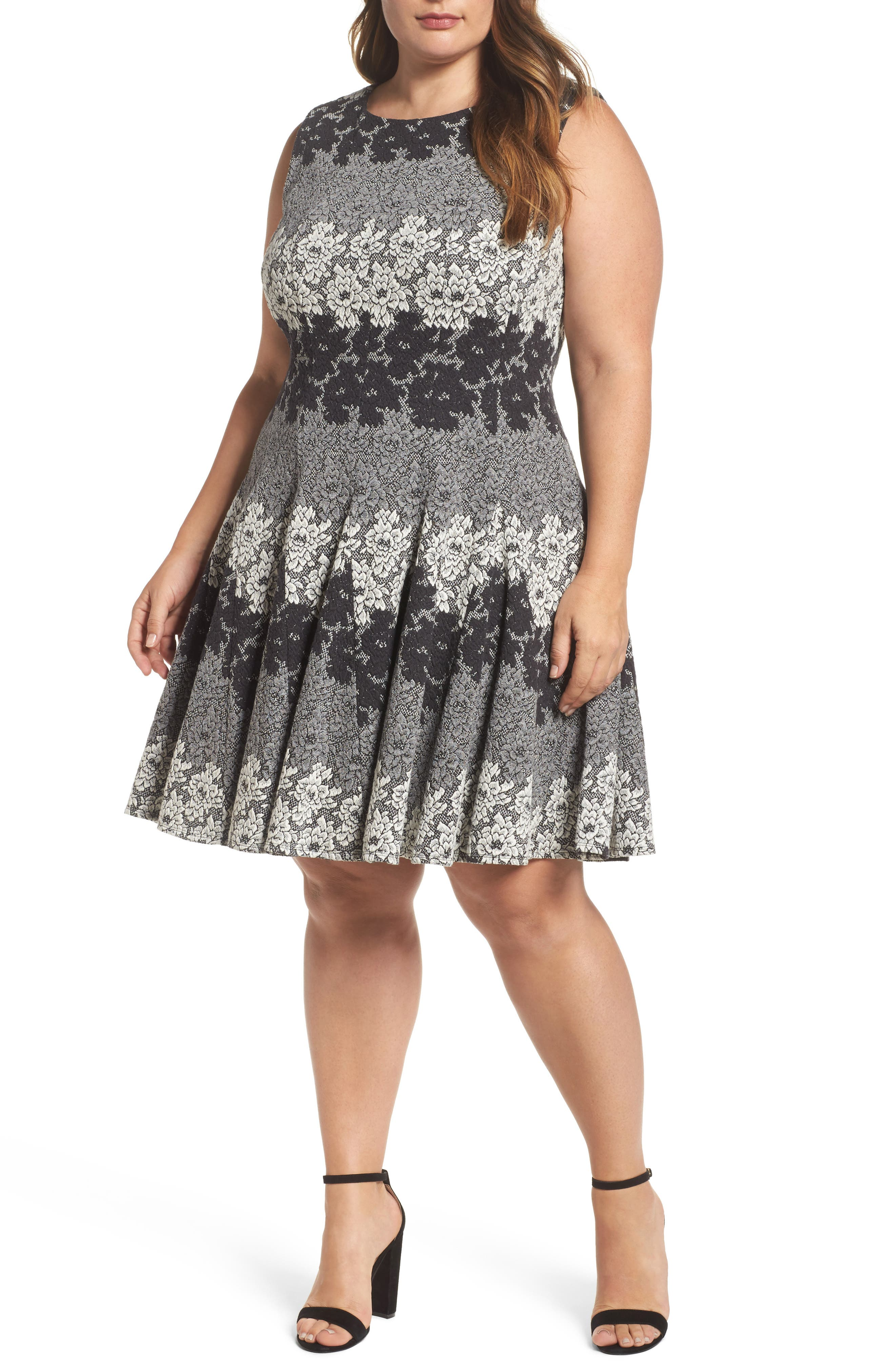 Eliza J Lace Jacquard Knit Fit & Flare (Plus Size)