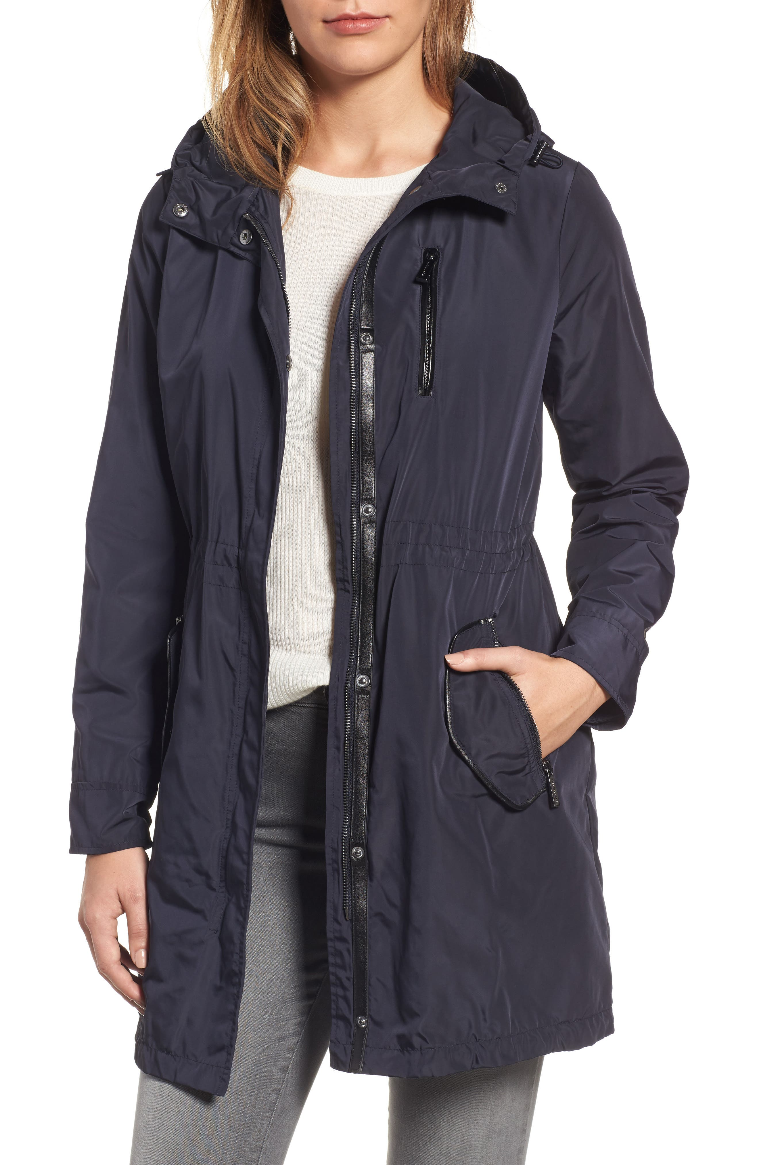 MICHAEL Michael Kors Hooded Drawstring Long Coat (Regular & Petite)