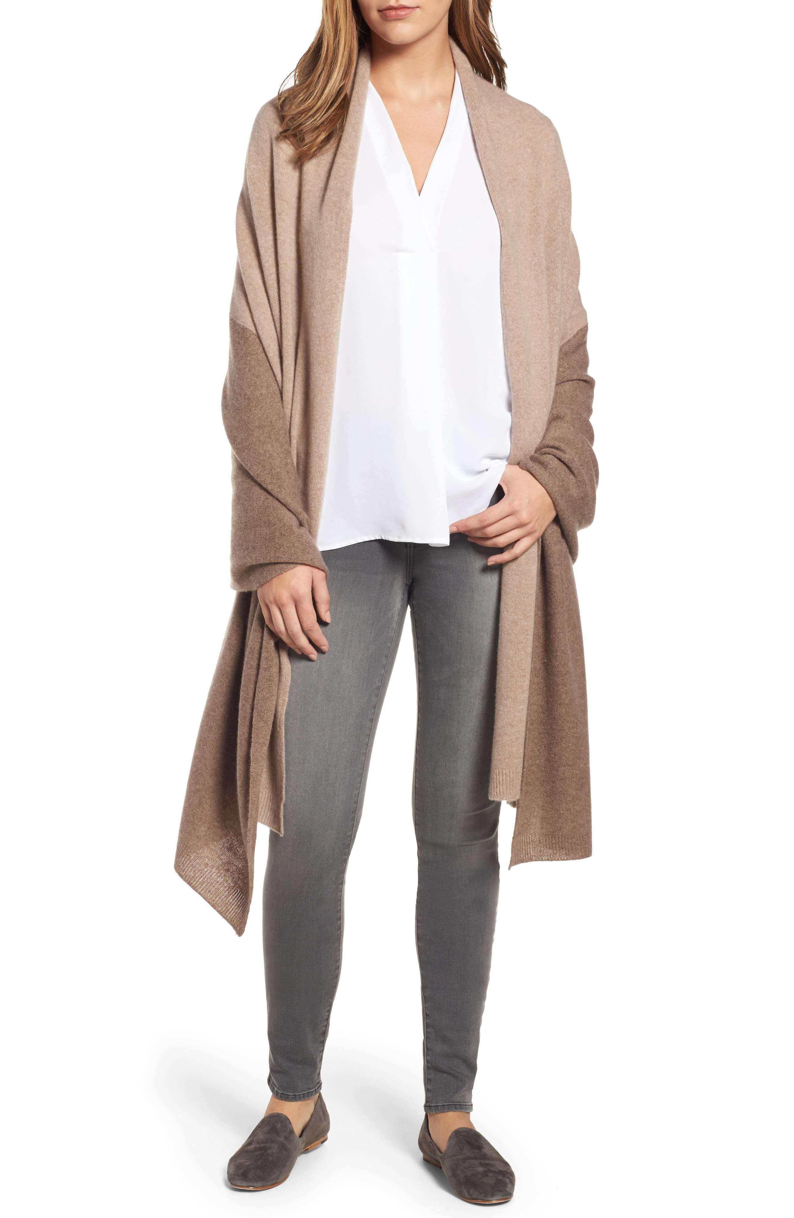 Halogen® Colorblock Cashmere Wrap
