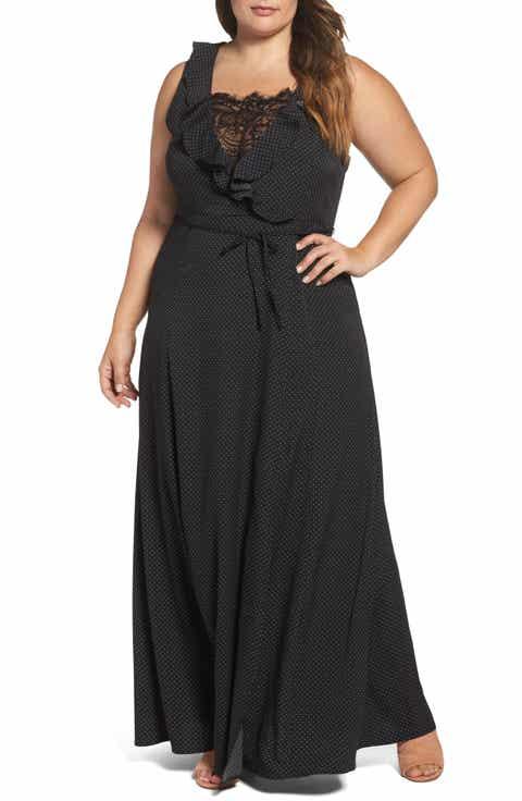 Glamorous Lace   Ruffle Trim Maxi Dress (Plus Size)
