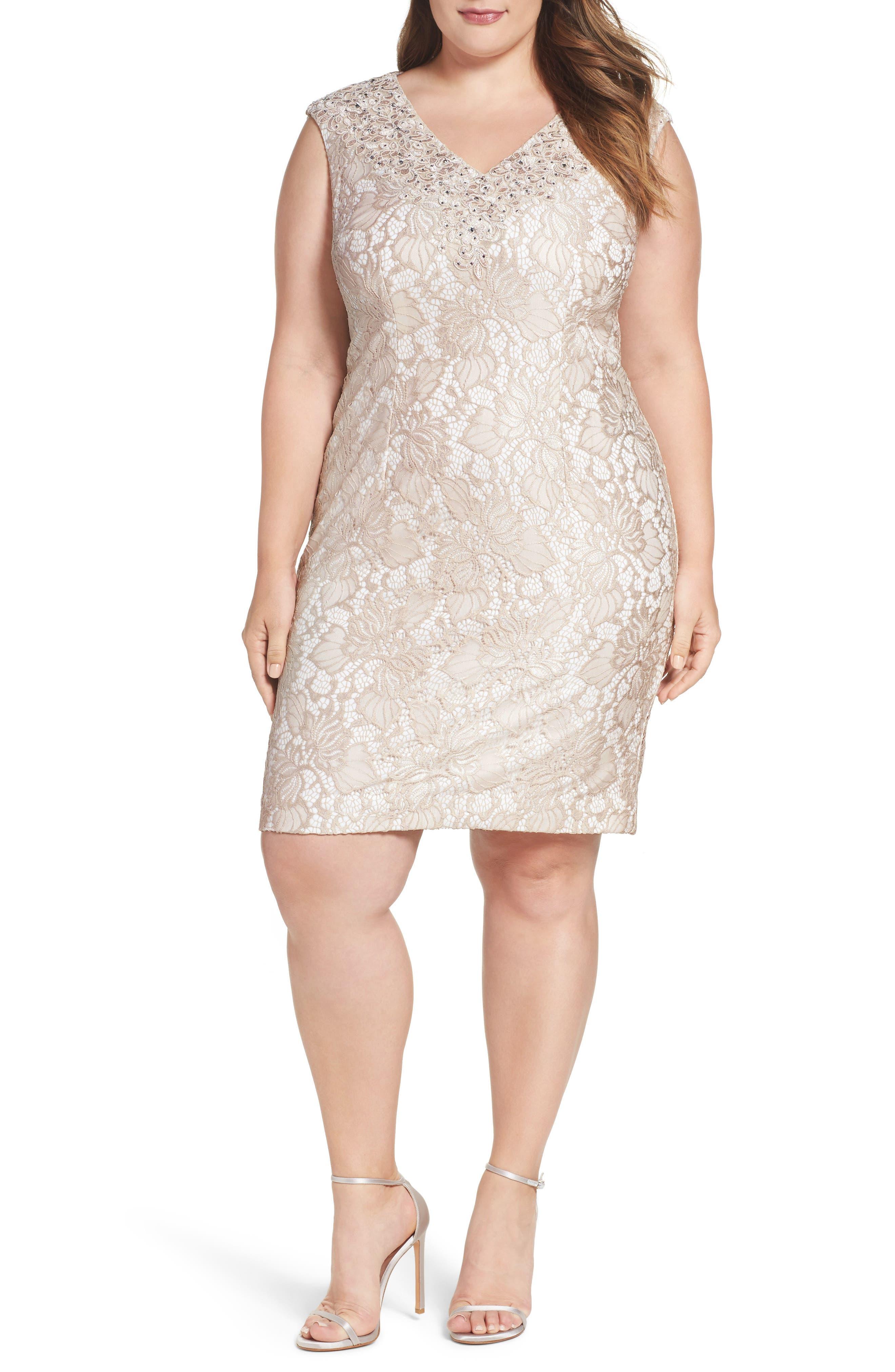 Alex Evenings Embellished Lace Sheath Dress (Plus Size)