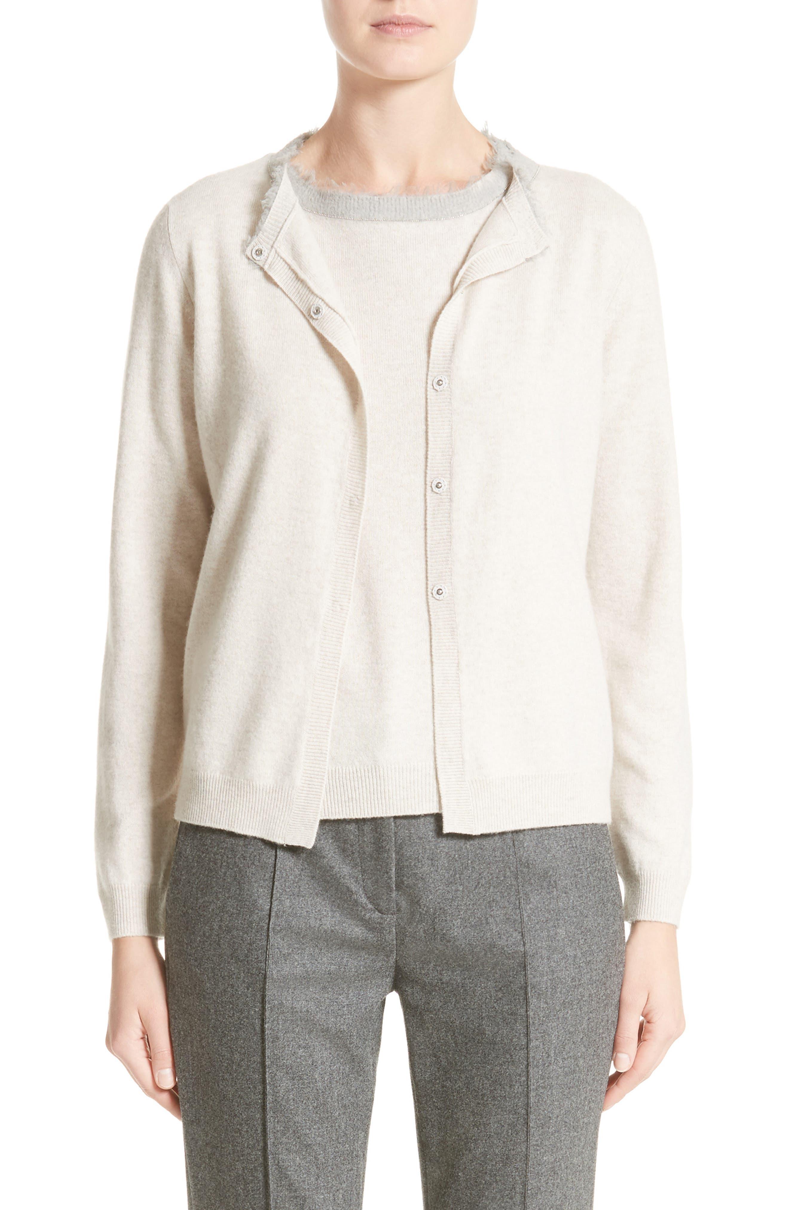 Fabiana Filippi Platinum Wool, Silk & Cashmere Cardigan
