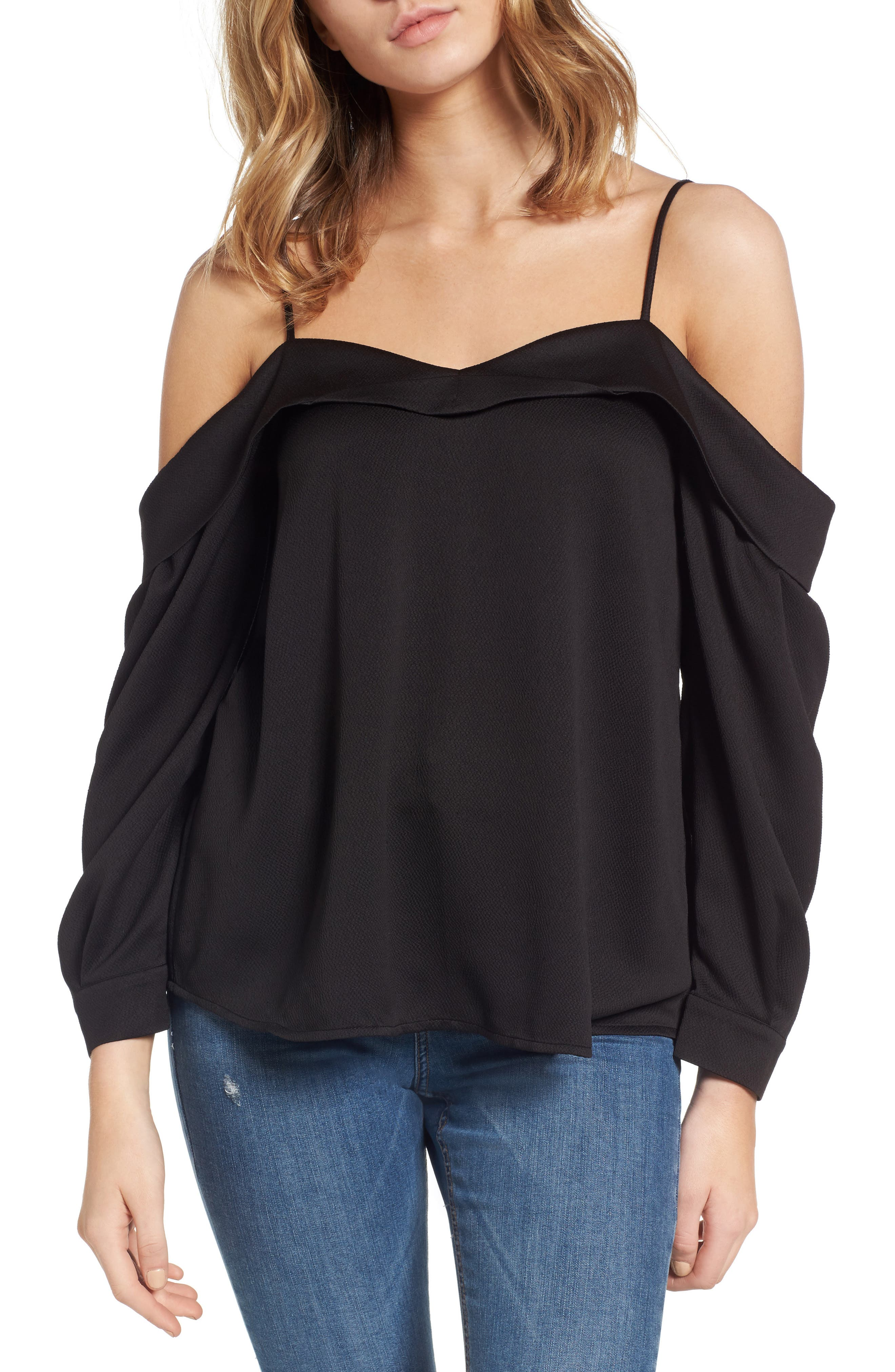 Main Image - Leith Satin Off the Shoulder Top