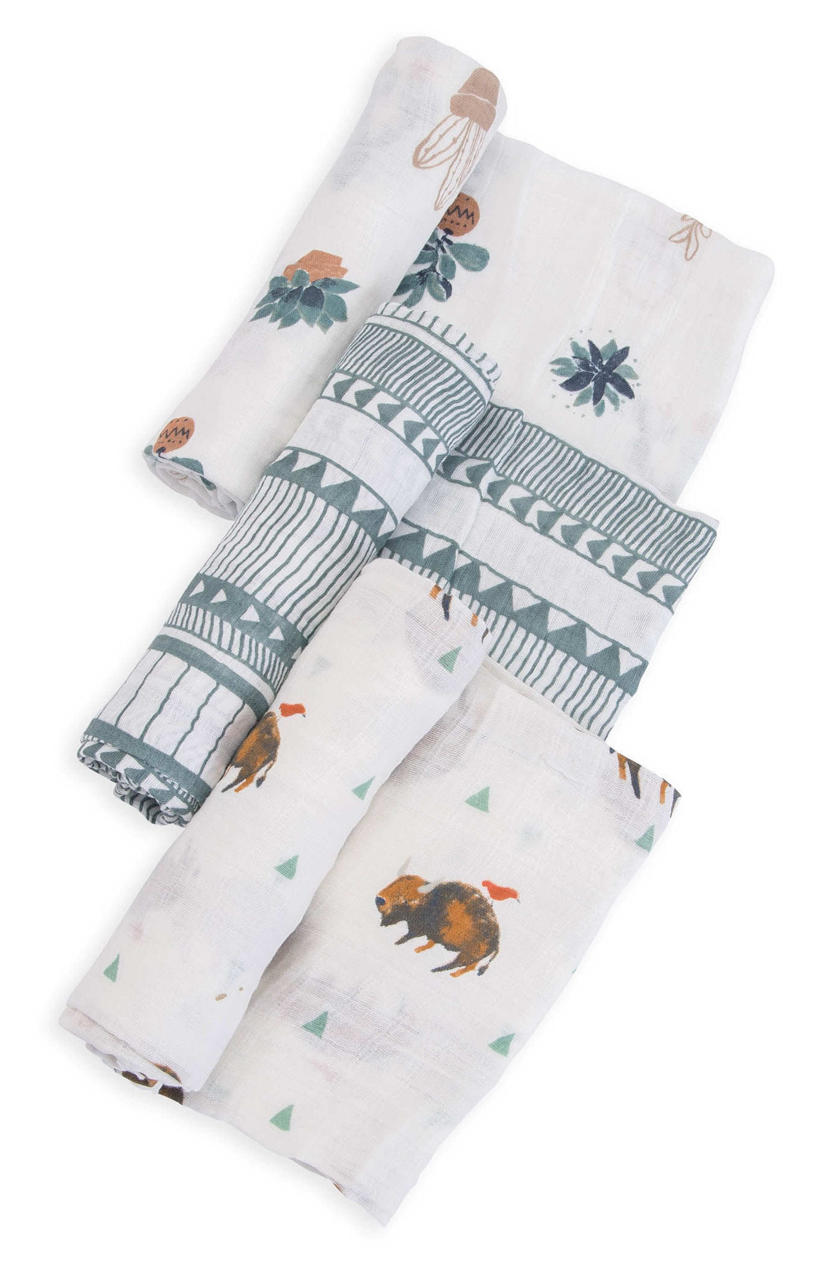 little unicorn 3-Pack Cotton Muslin Blankets