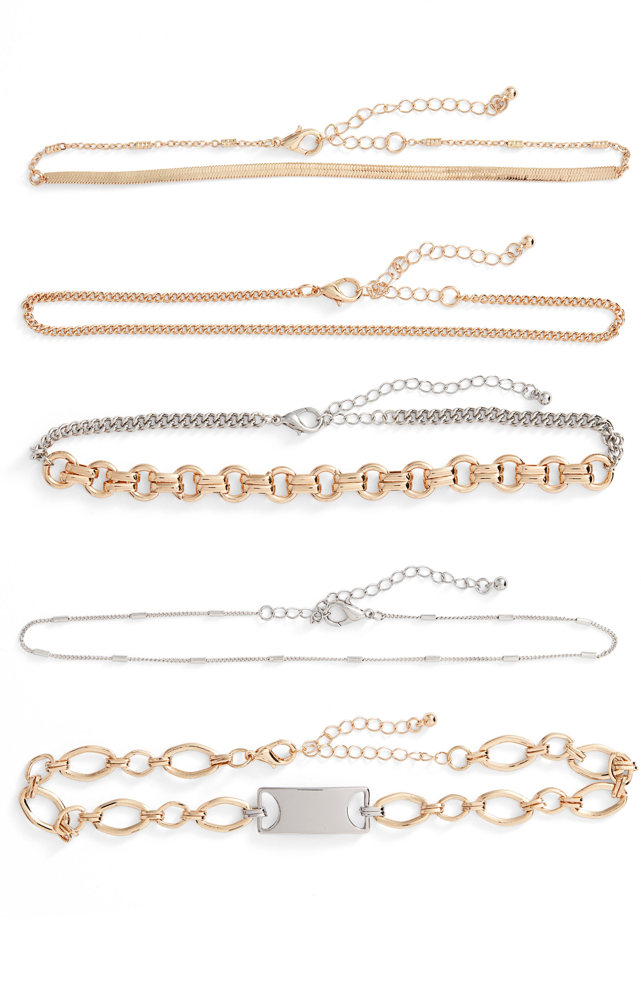 Leith 5-Pack Mixed Metal Chokers
