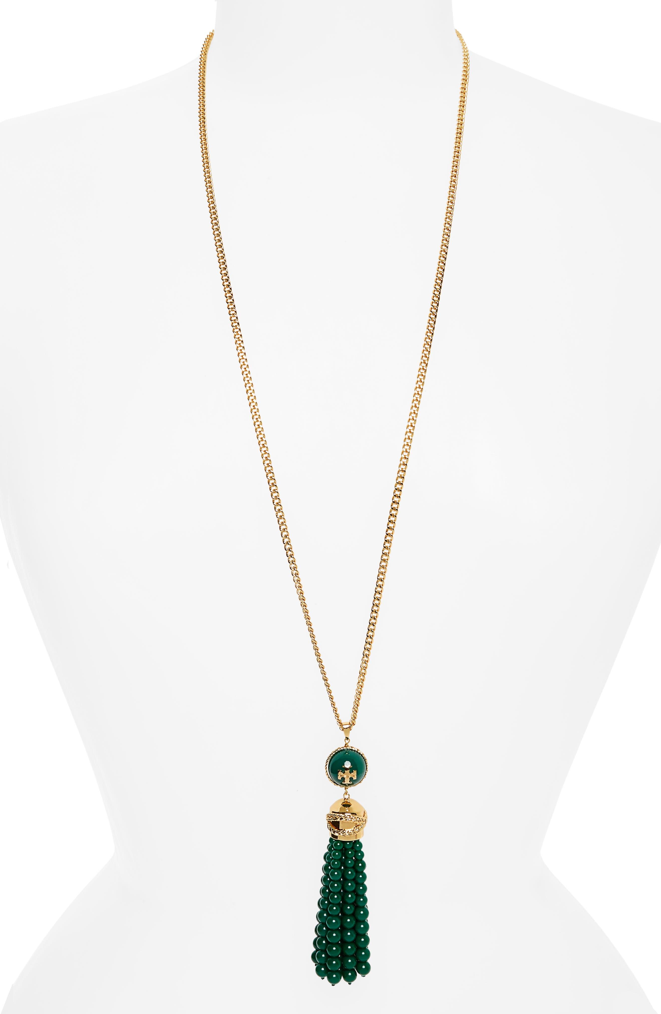 Tory Burch Beaded Tassel Necklace