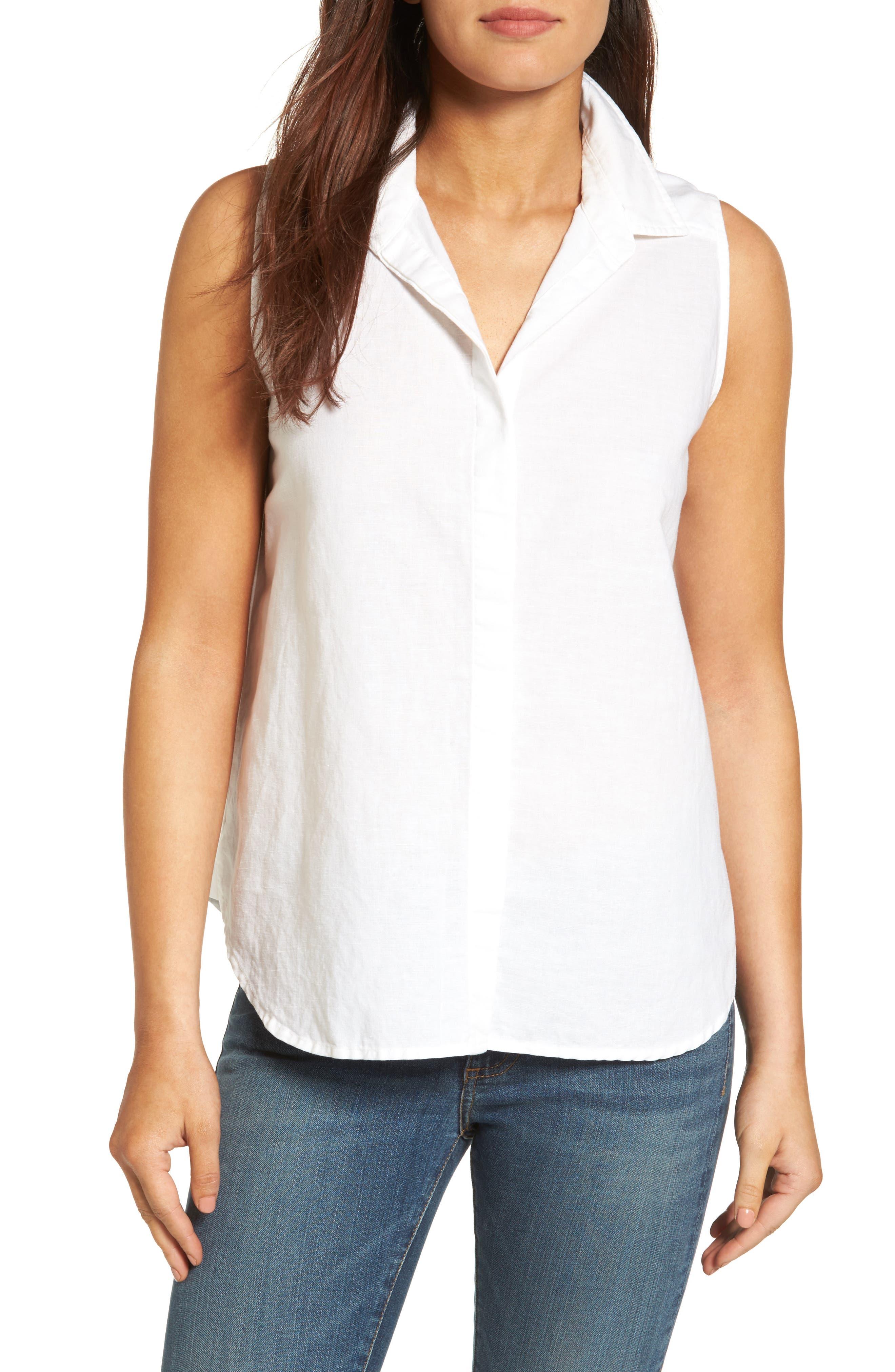 NYDJ Button Back Linen Blend Shirt