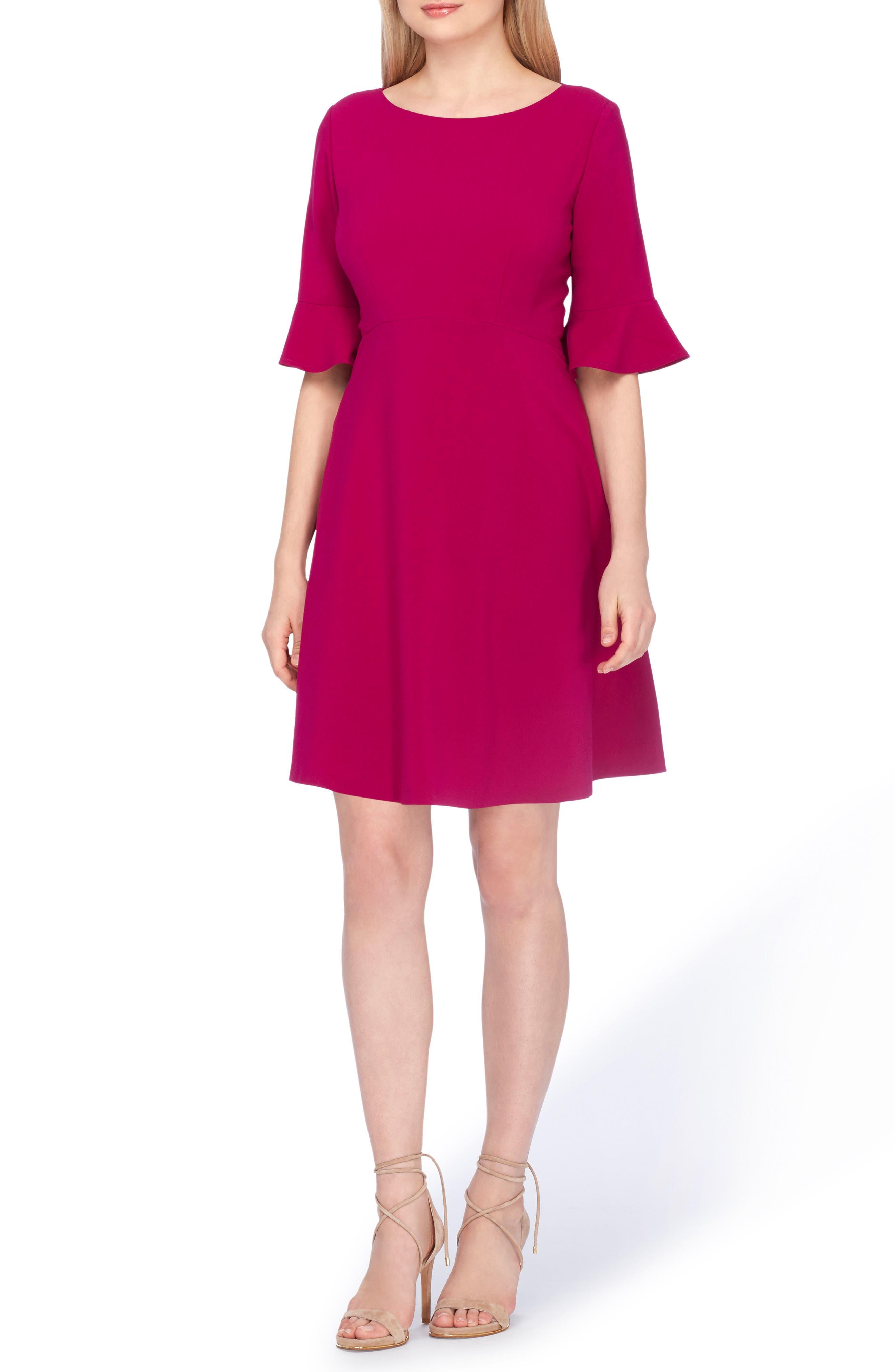 Tahari Ruffle Sleeve A-Line Dress (Regular & Petite)