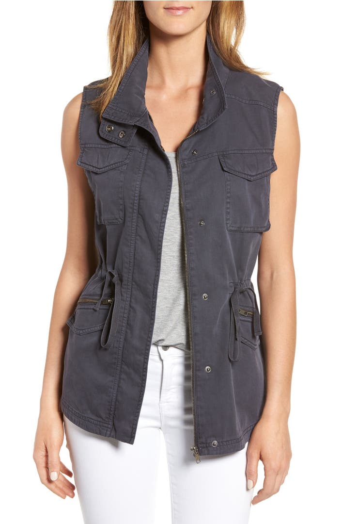 Sleeveless Chambray Shirt Womens