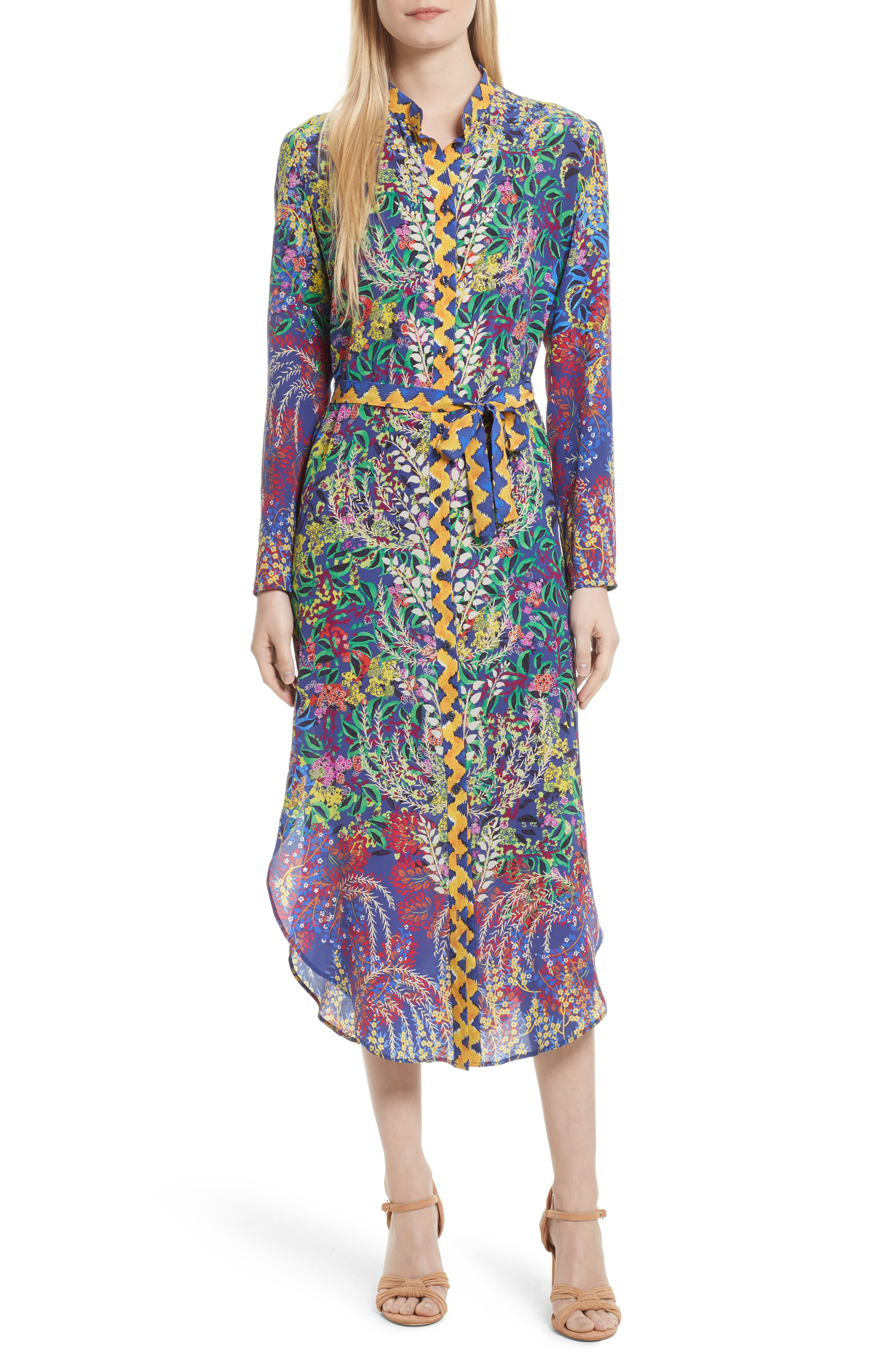 SALONI Molly Print Silk Shirtdress