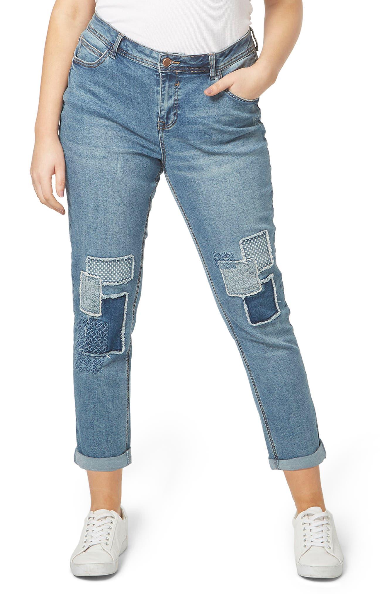 Evans Polka Patch Boyfriend Jeans (Plus Size)
