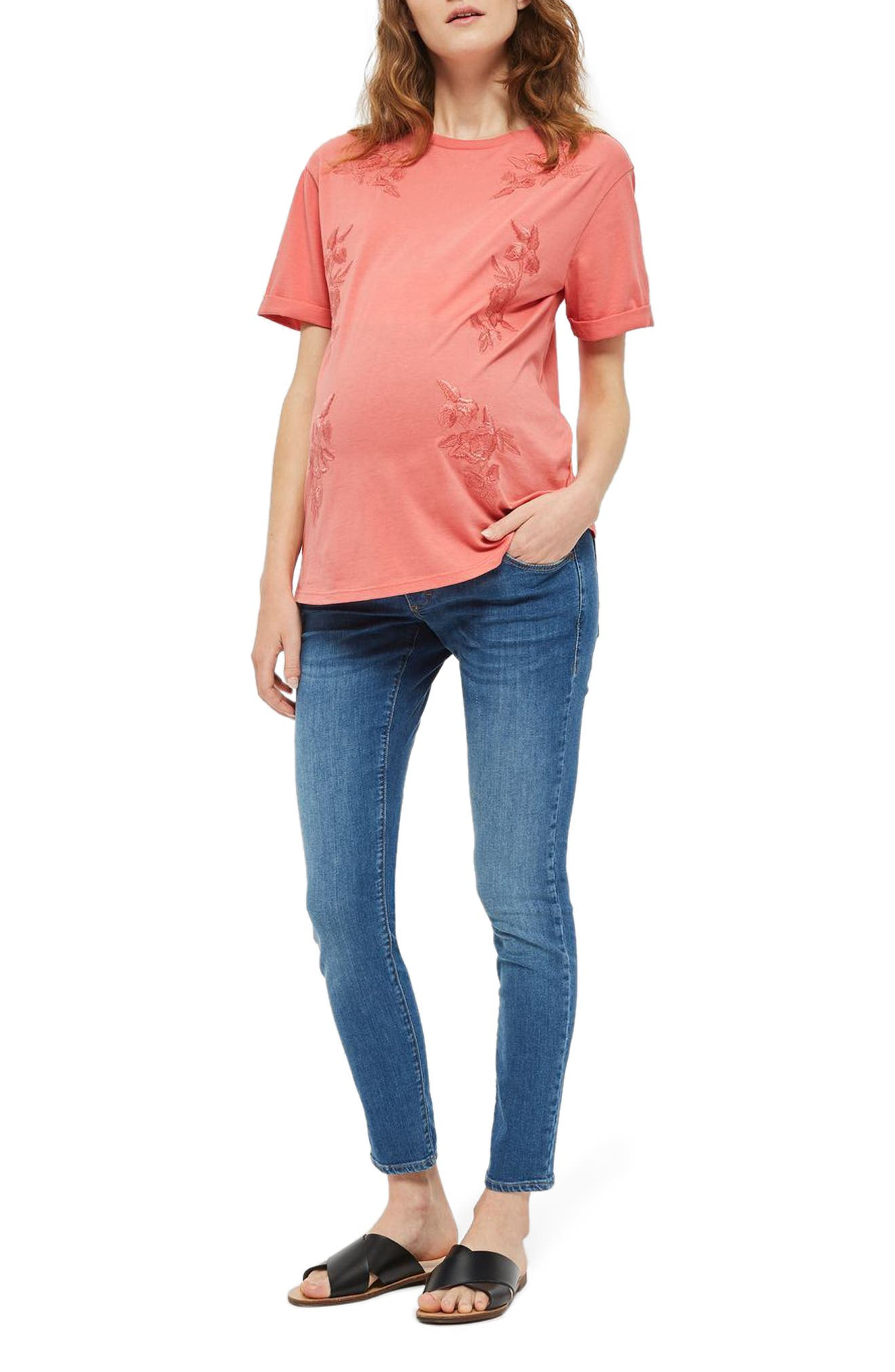 Topshop Embroidered Maternity Tee