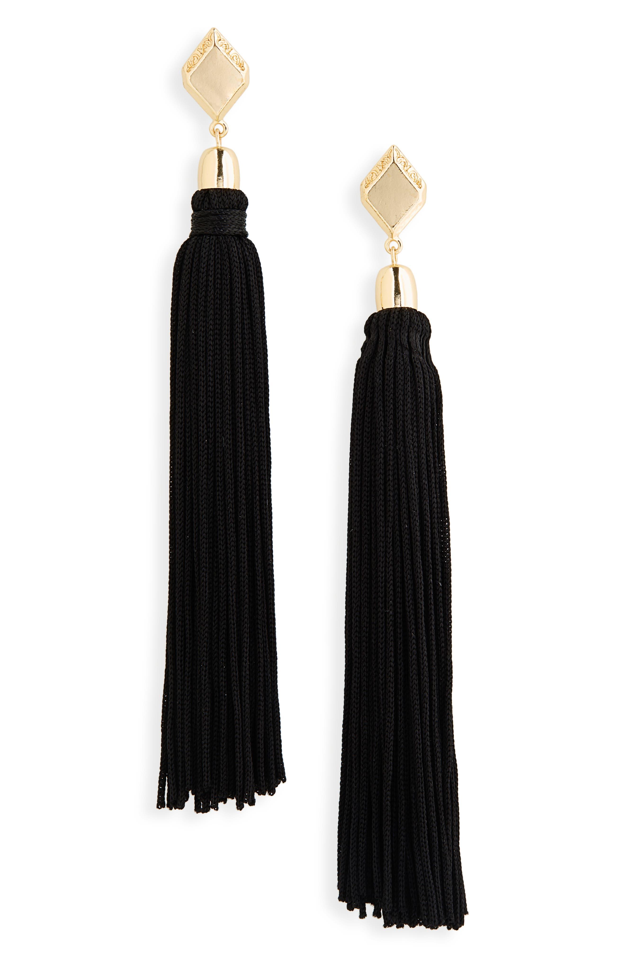 Ettika Silk Tassel Drop Earrings