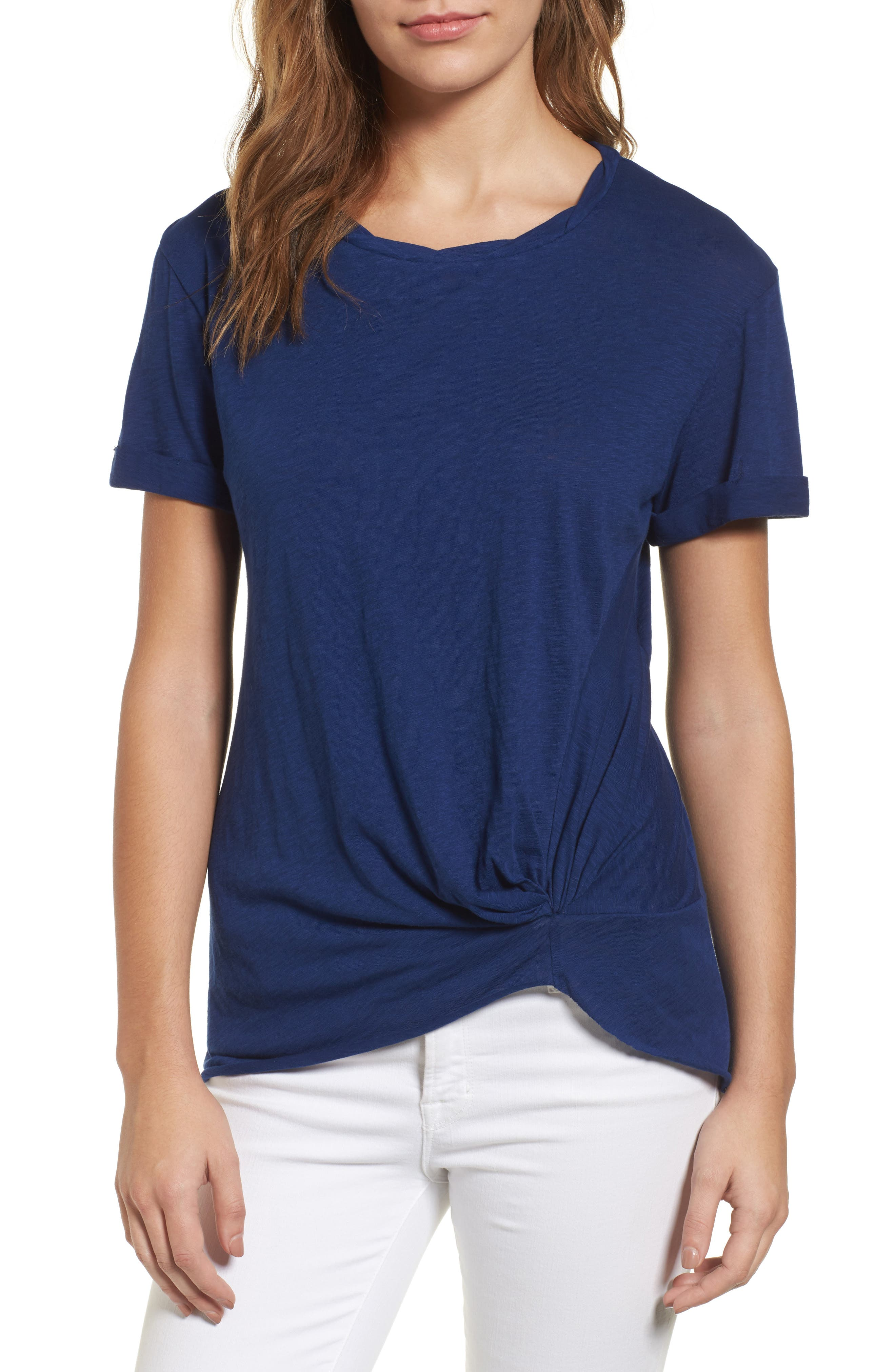 Caslon® Knotted Tee (Regular & Petite)