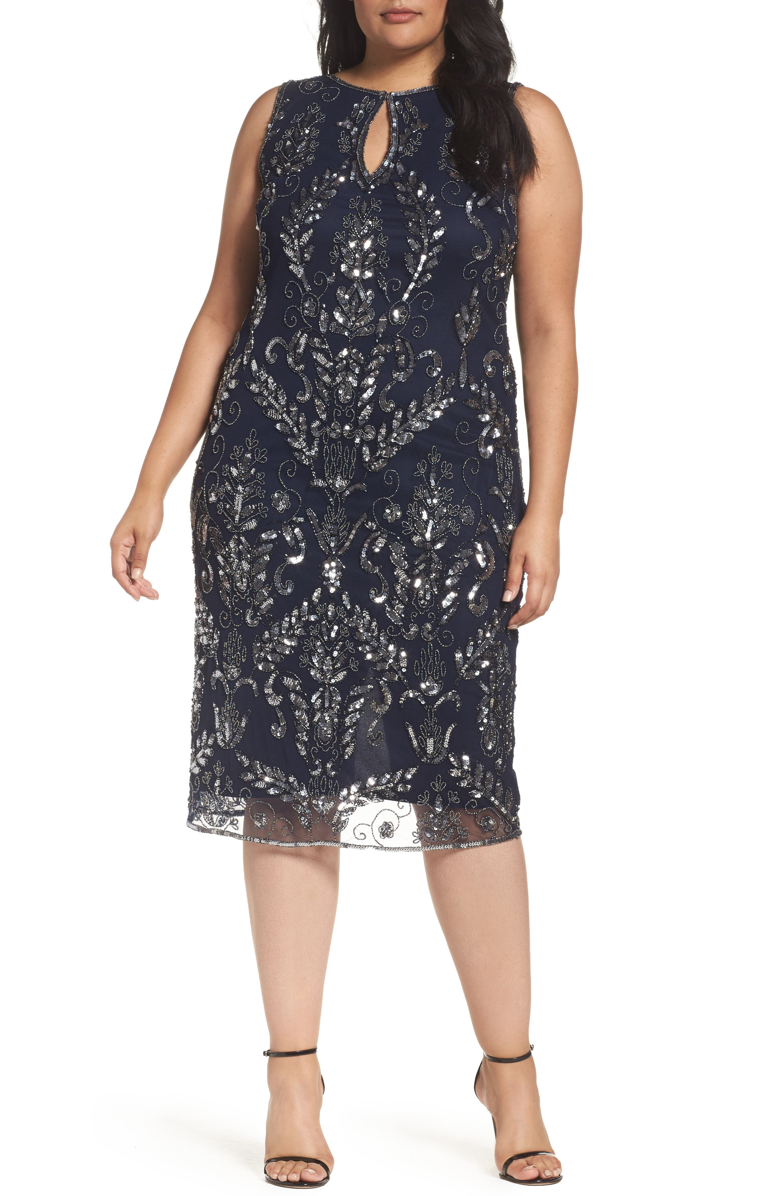 Pisarro Nights Embellished Tea Length Sheath Dress (Plus Size)