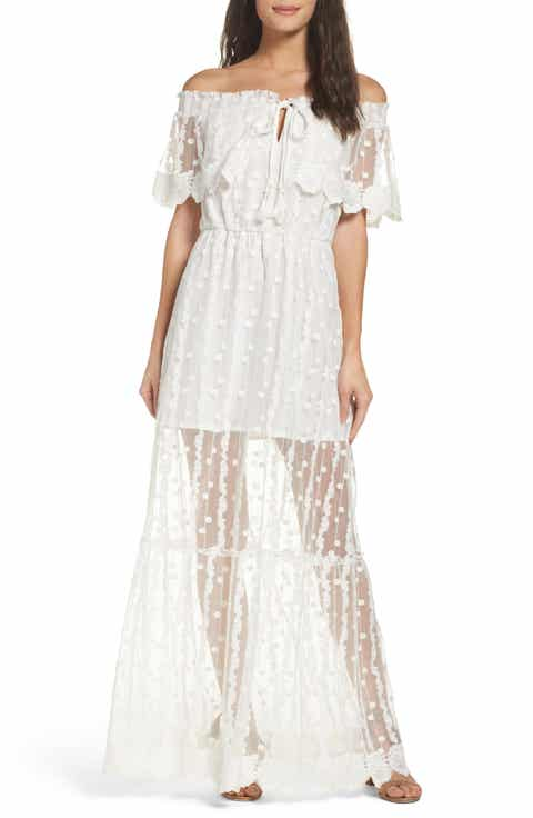 Adelyn Rae Josephine Off the Shoulder Lace Maxi Dress