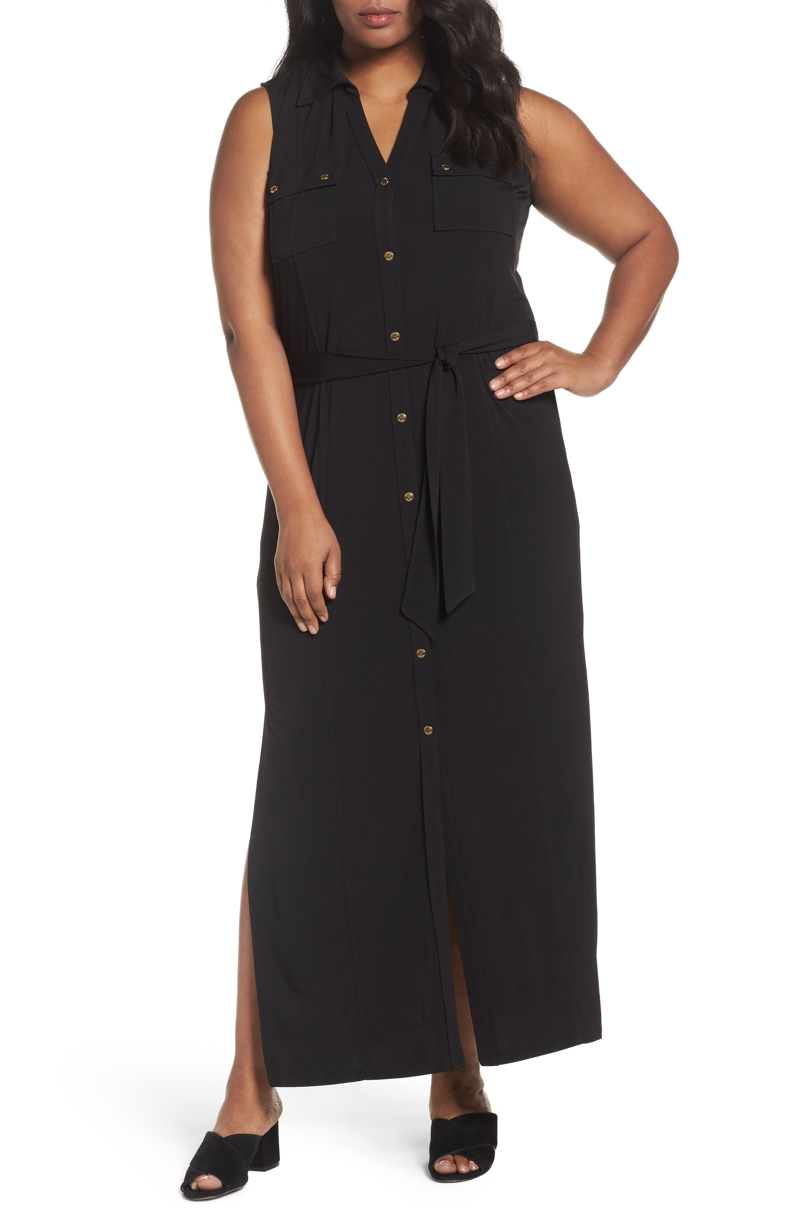MICHAEL Michael Kors Matte Jersey Maxi Shirtdress (Plus Size)