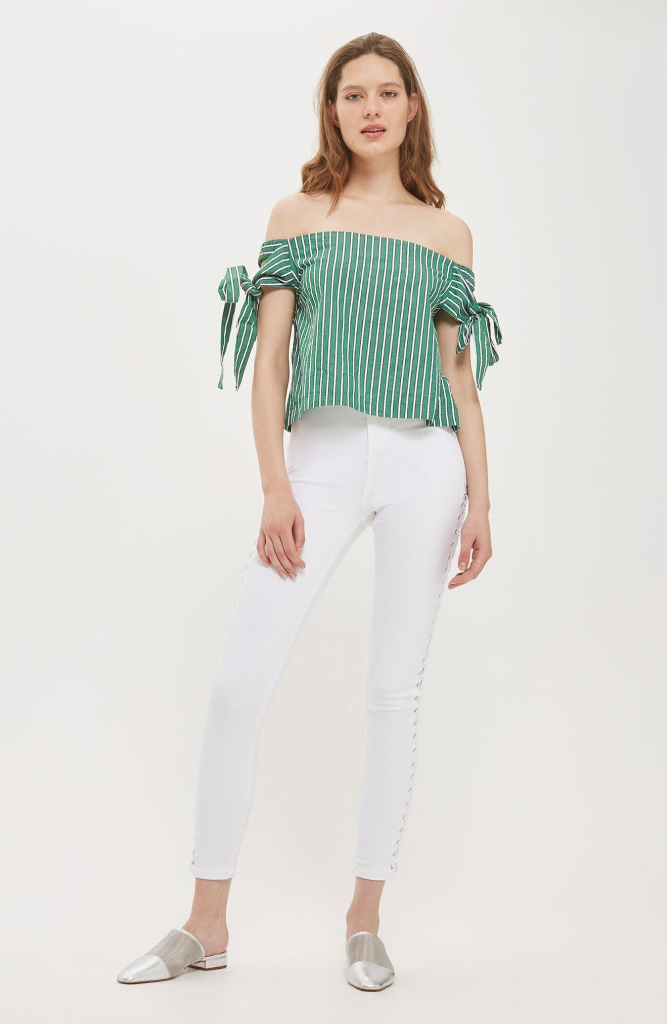 Alternate Image 2  - Topshop Bardot Tie Sleeve Stripe Top