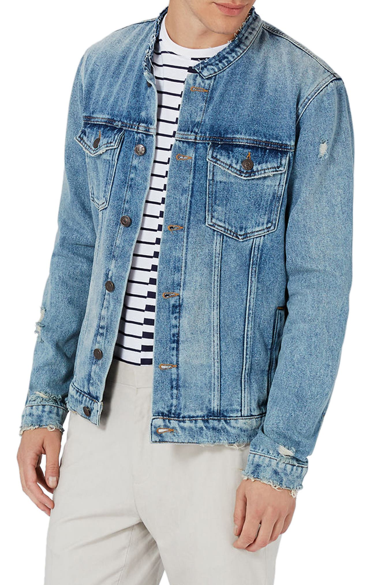 Topman Collarless Denim Jacket