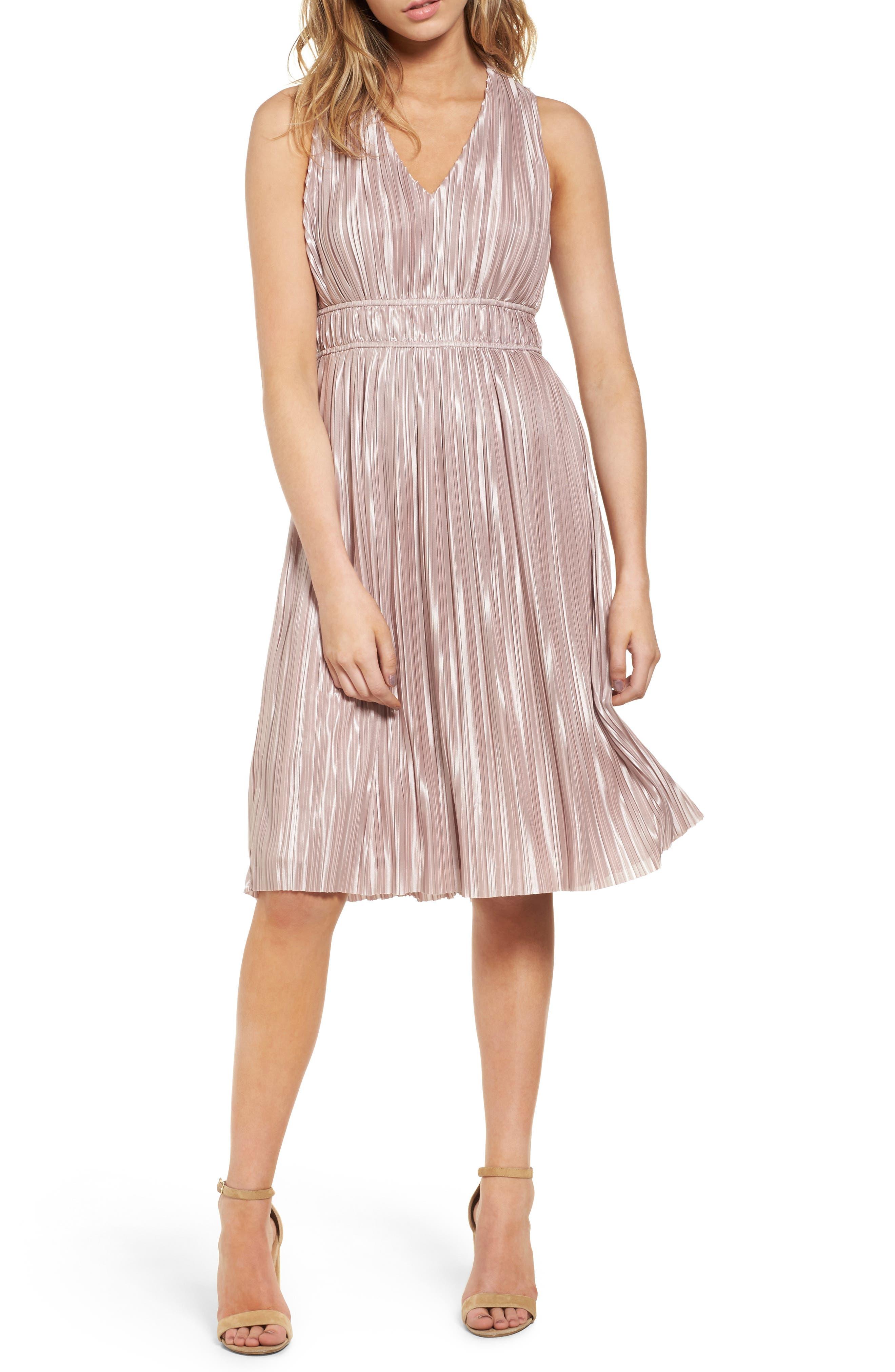 June & Hudson Pleat Midi Dress