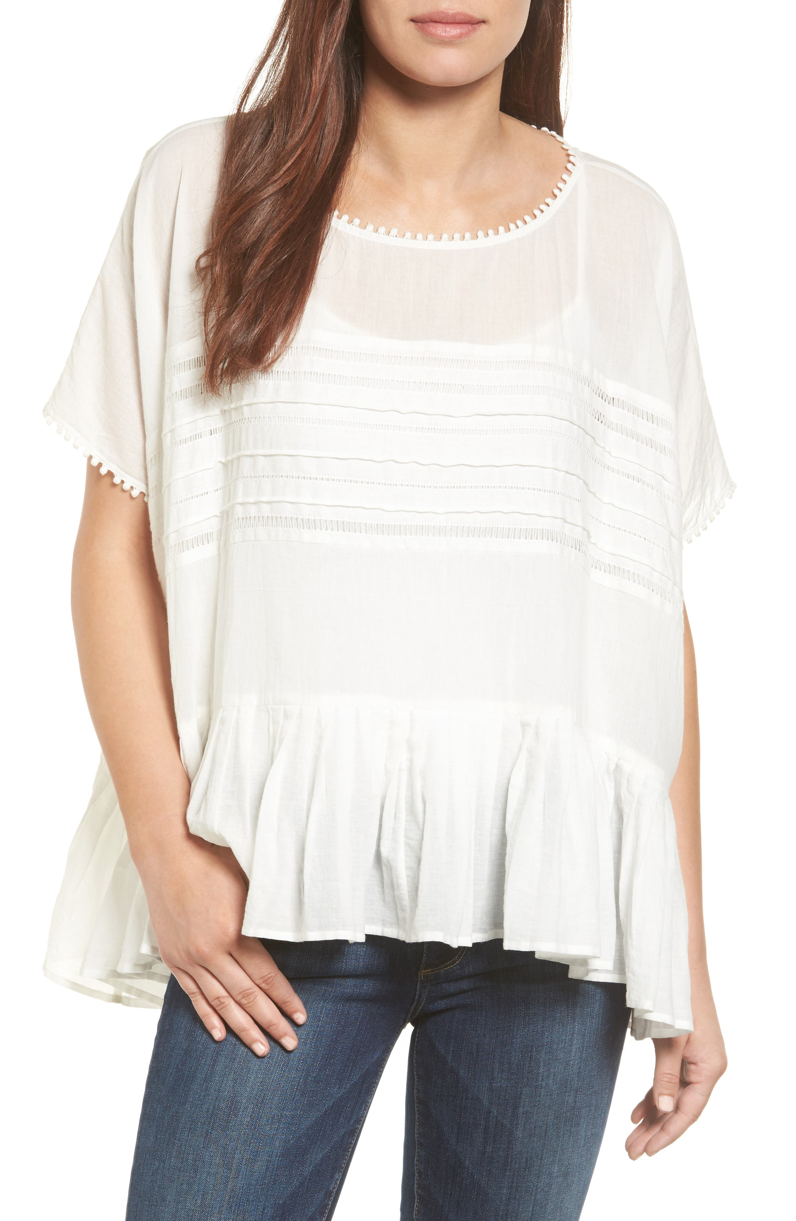 Velvet by Graham & Spencer Ruffle Hem Voile Blouse