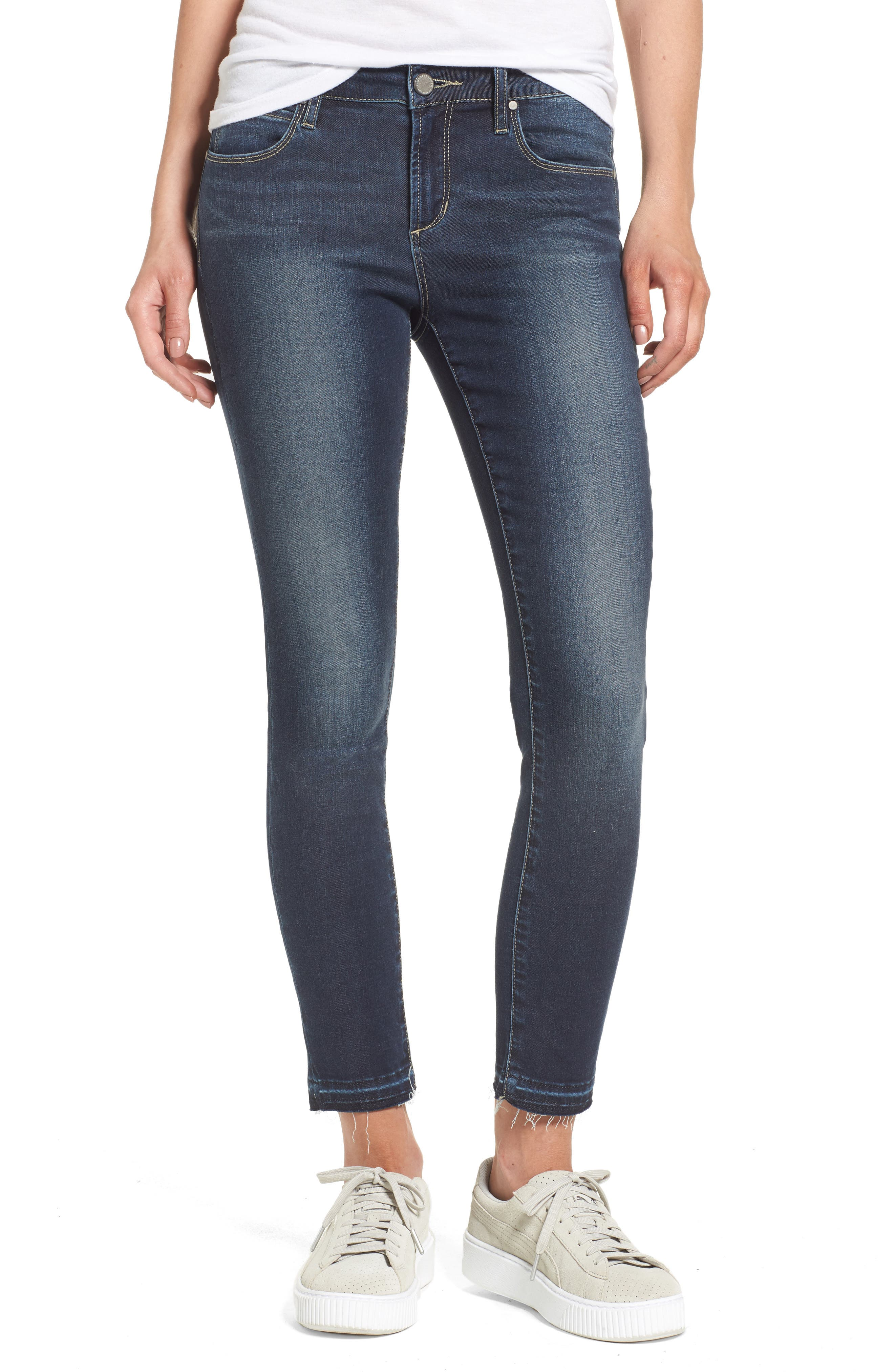 Main Image - Articles of Society Carly Release Hem Crop Skinny Jeans (Blue Fly)