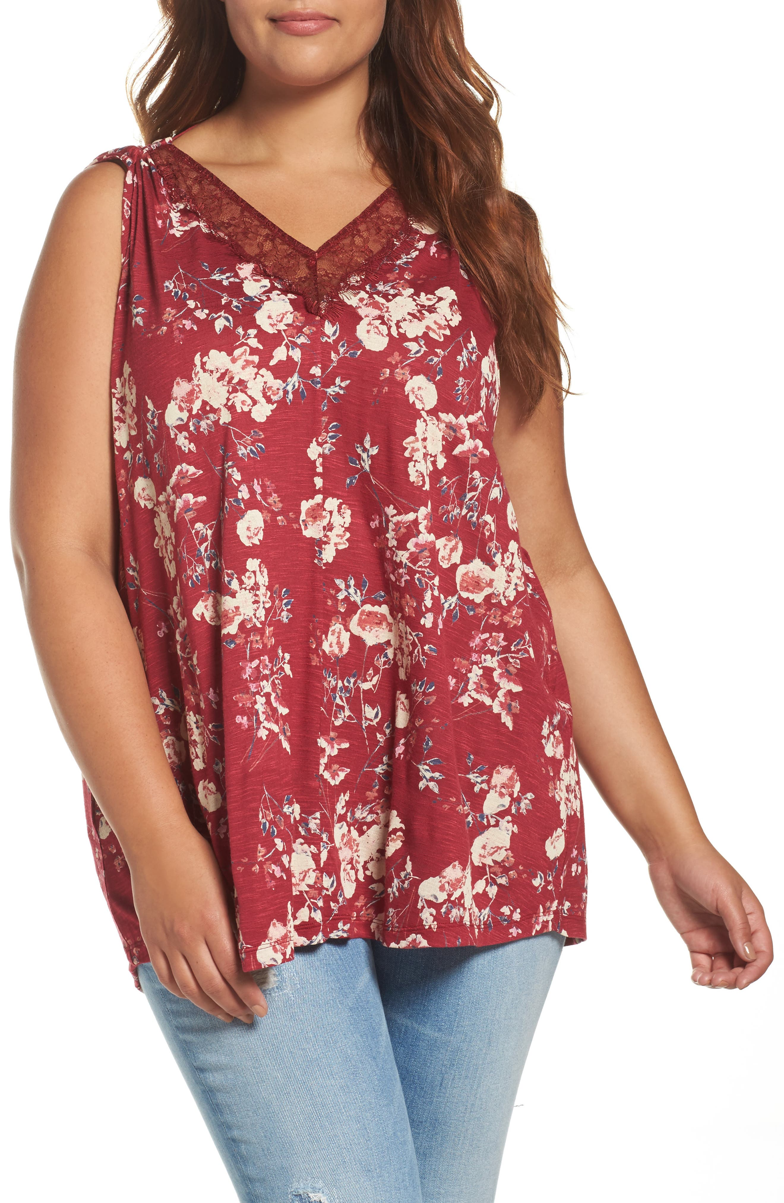 Lucky Brand Wildflower Lace Trim Tank (Plus Size)