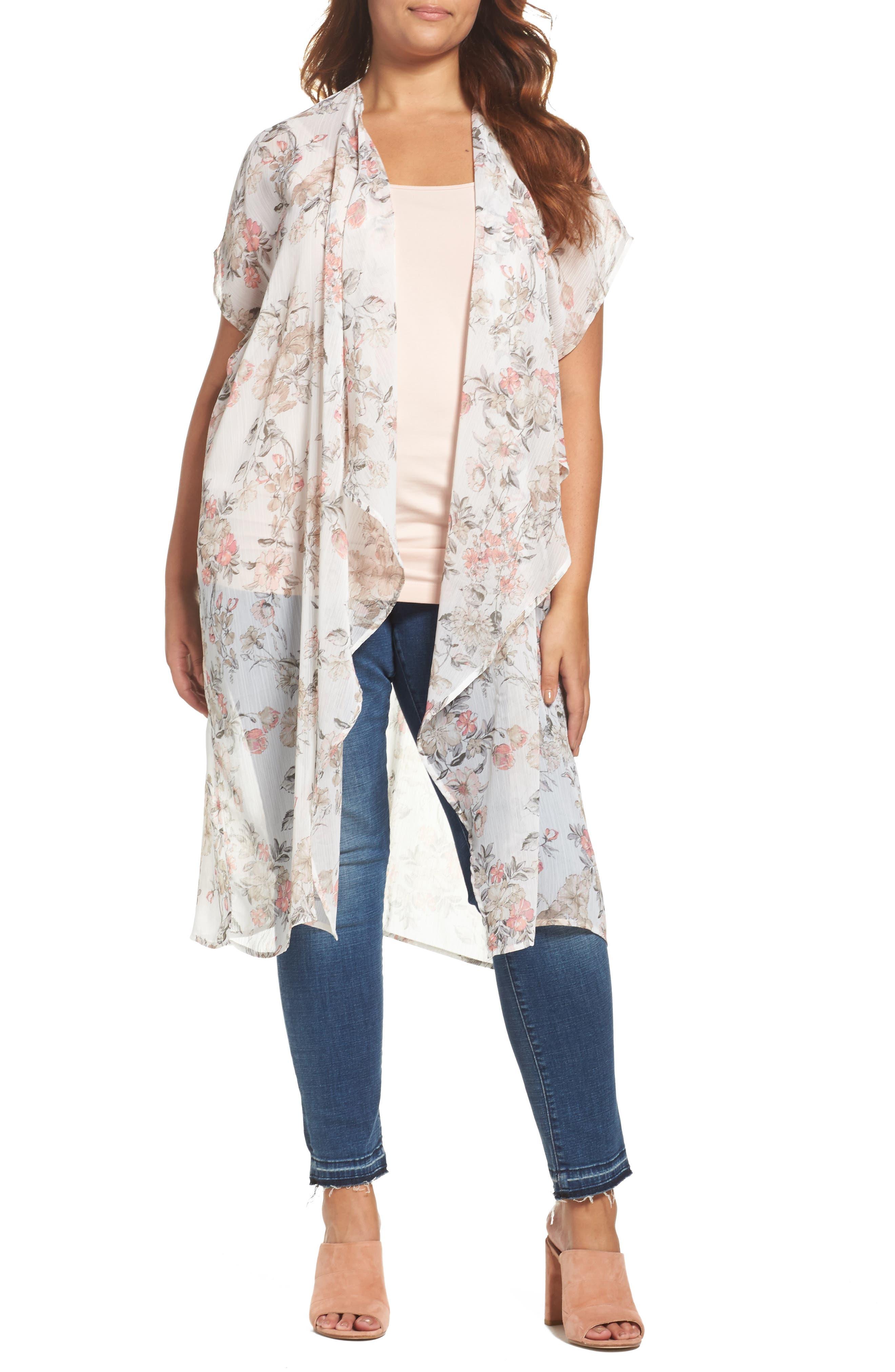 Bobeau Floral Kimono (Plus Size)