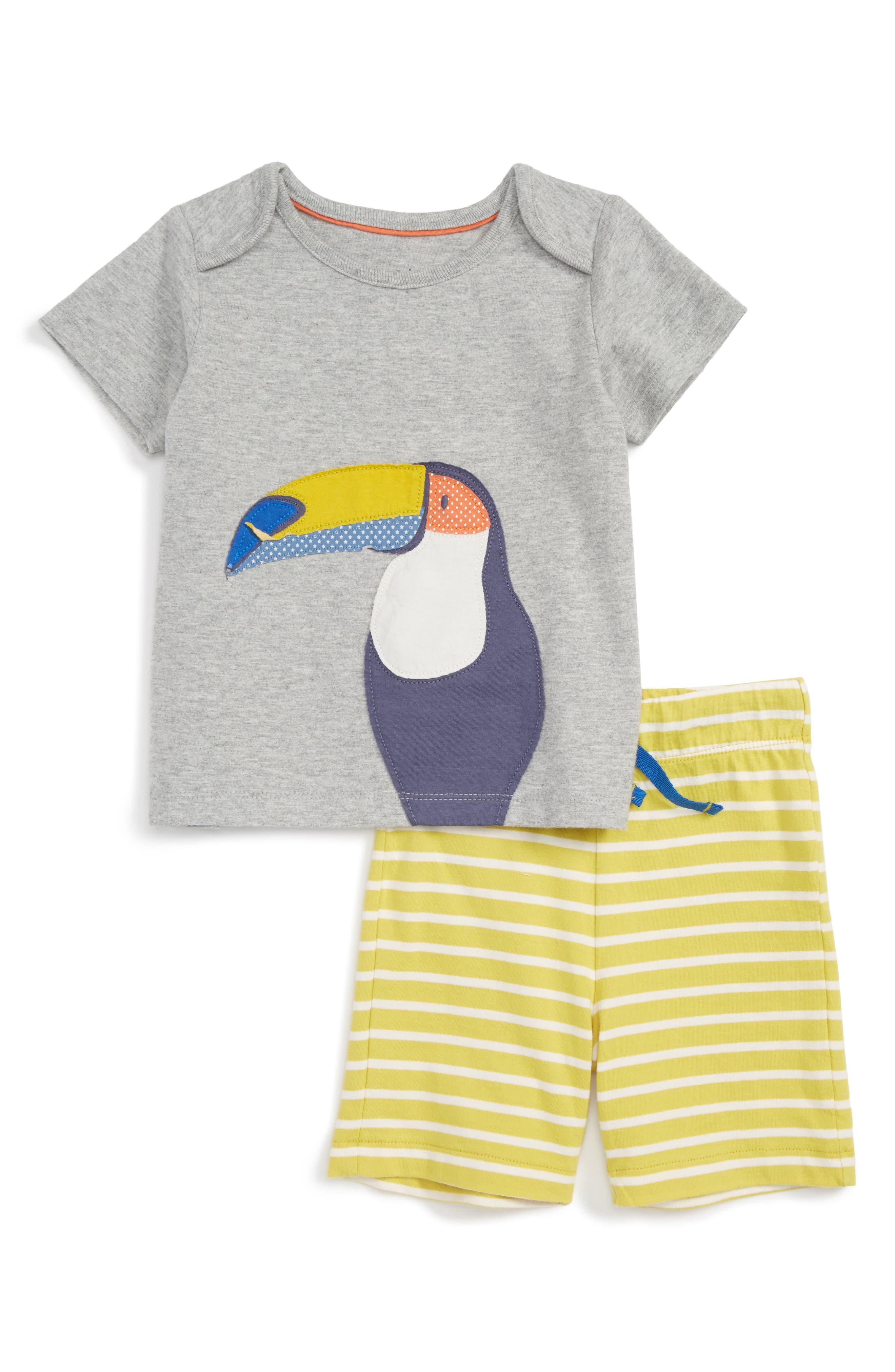 Mini Boden Fun Summer Jersey T-Shirt & Shorts Set (Baby Boys & Toddler Boys)