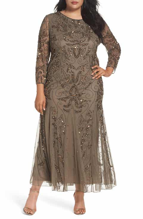 Pisarro Nights Embellished Three Quarter Sleeve Gown (Plus Size)