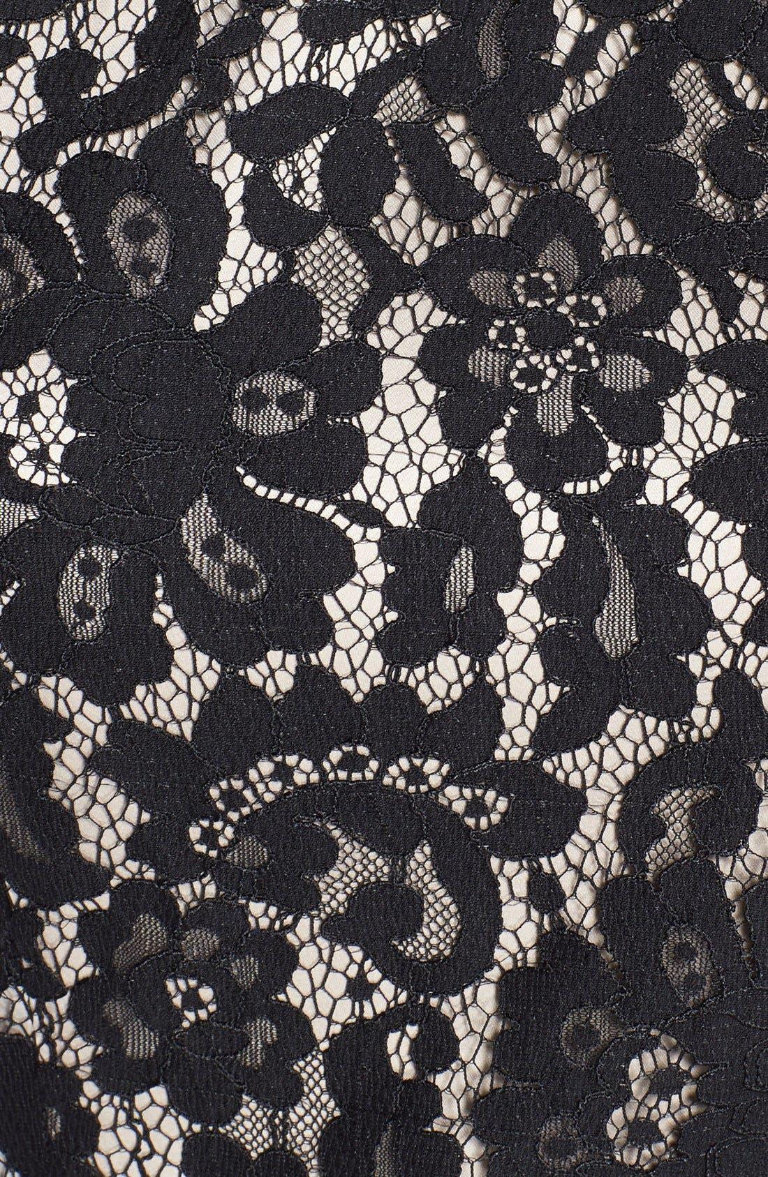 Alternate Image 4  - Eliza J Belted Cap Sleeve Lace Fit & Flare Dress (Regular & Petite)