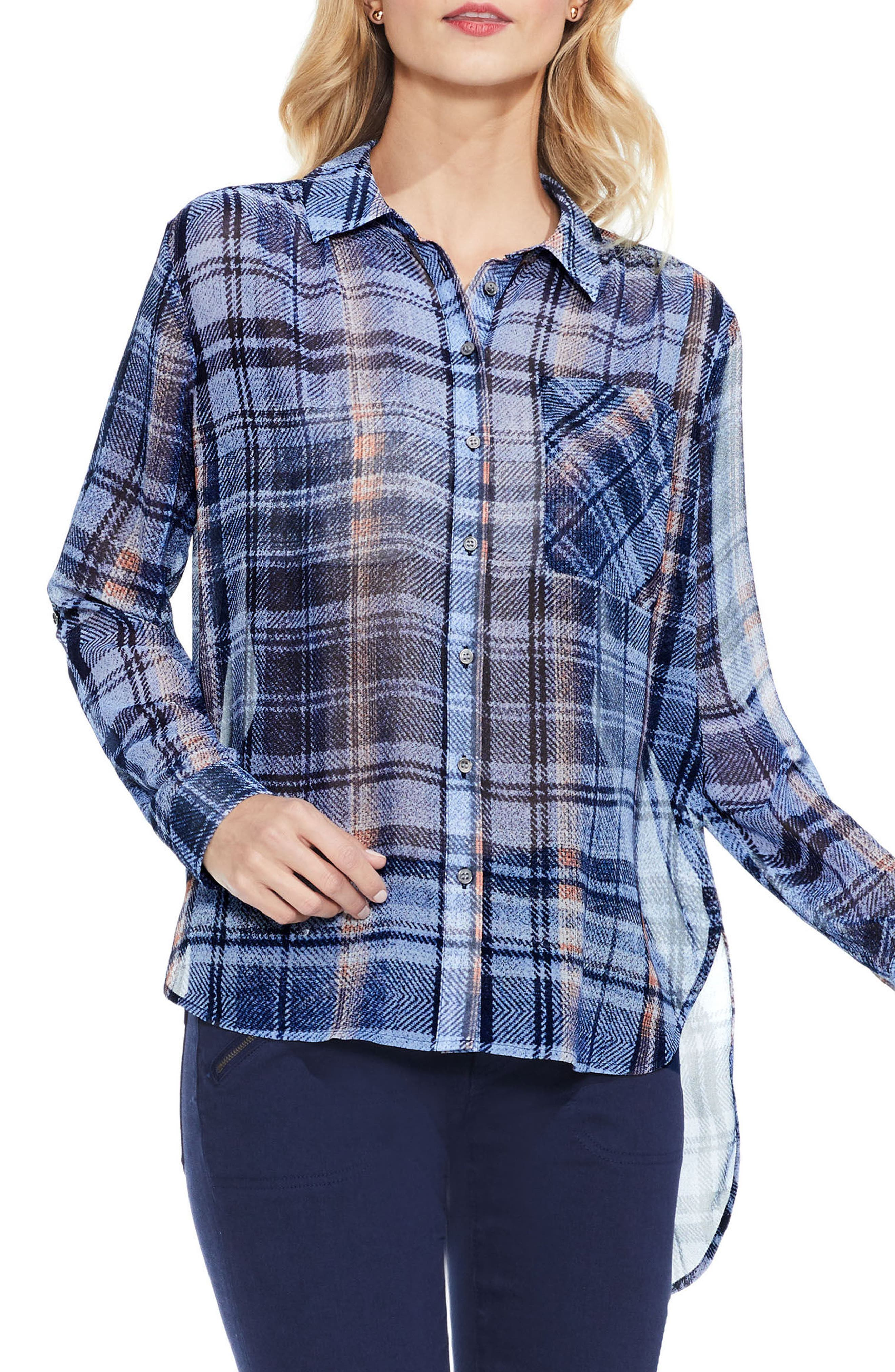 Two by Vince Camuto Plaid High/Low Blouse