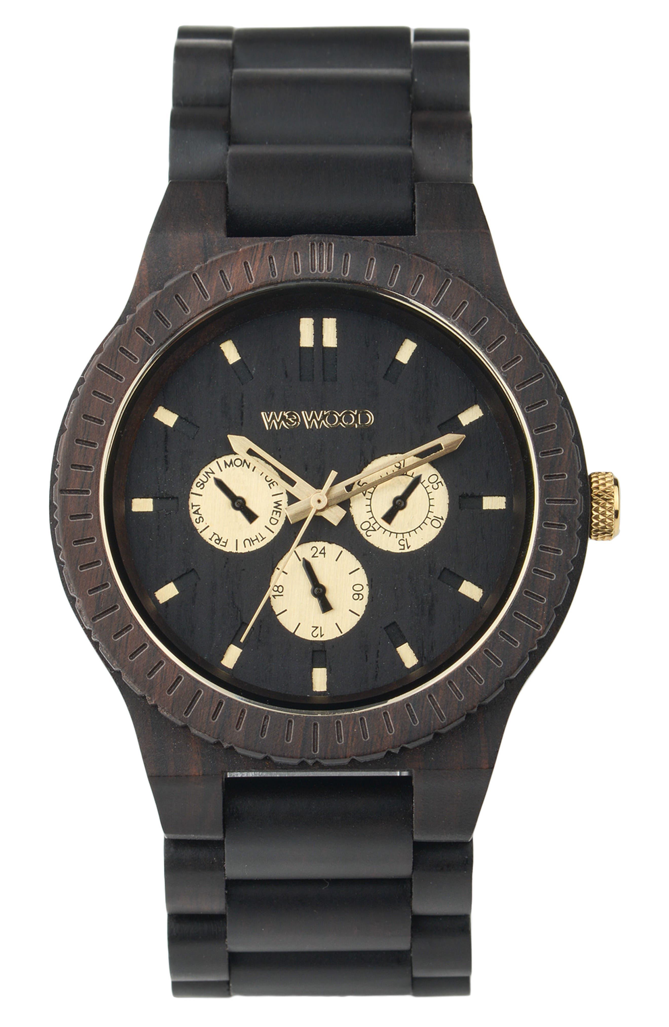 WeWOOD Kappa Multifunctional Wood Bracelet Watch, 46mm