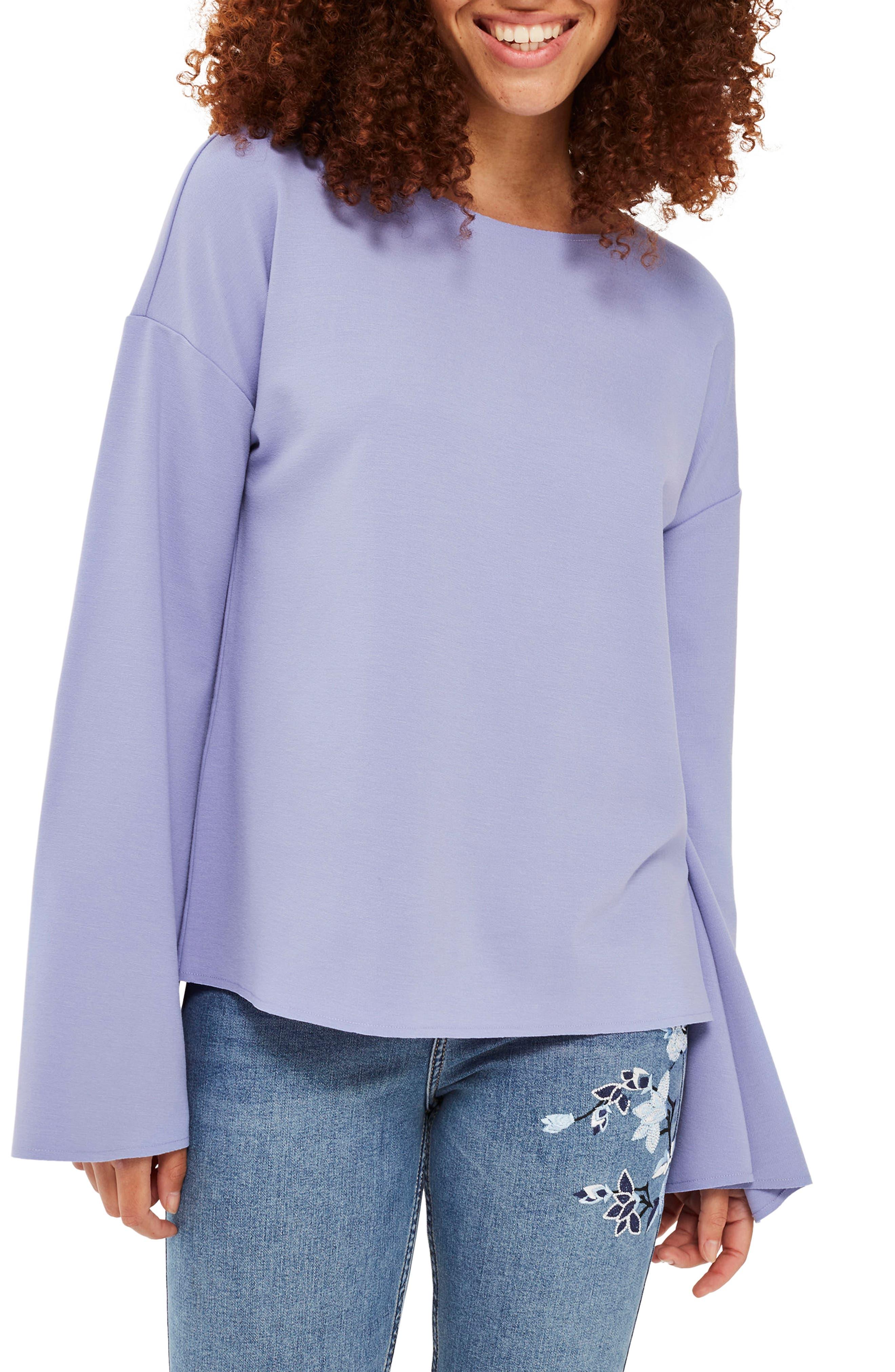 Main Image - Topshop Split Back Bell Sleeve Sweatshirt