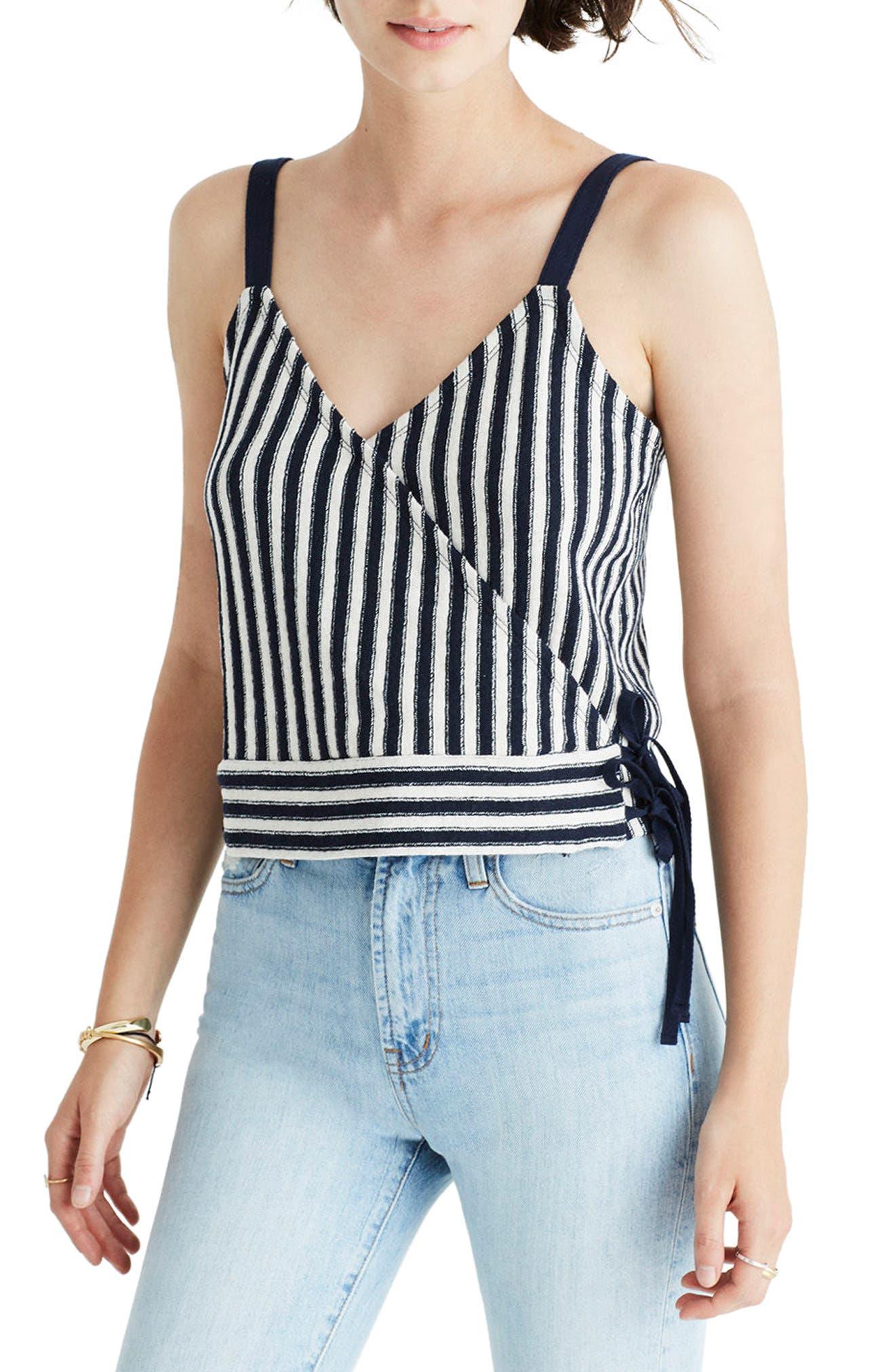 Madewell Chloe Jacquard Stripe Wrap Tank
