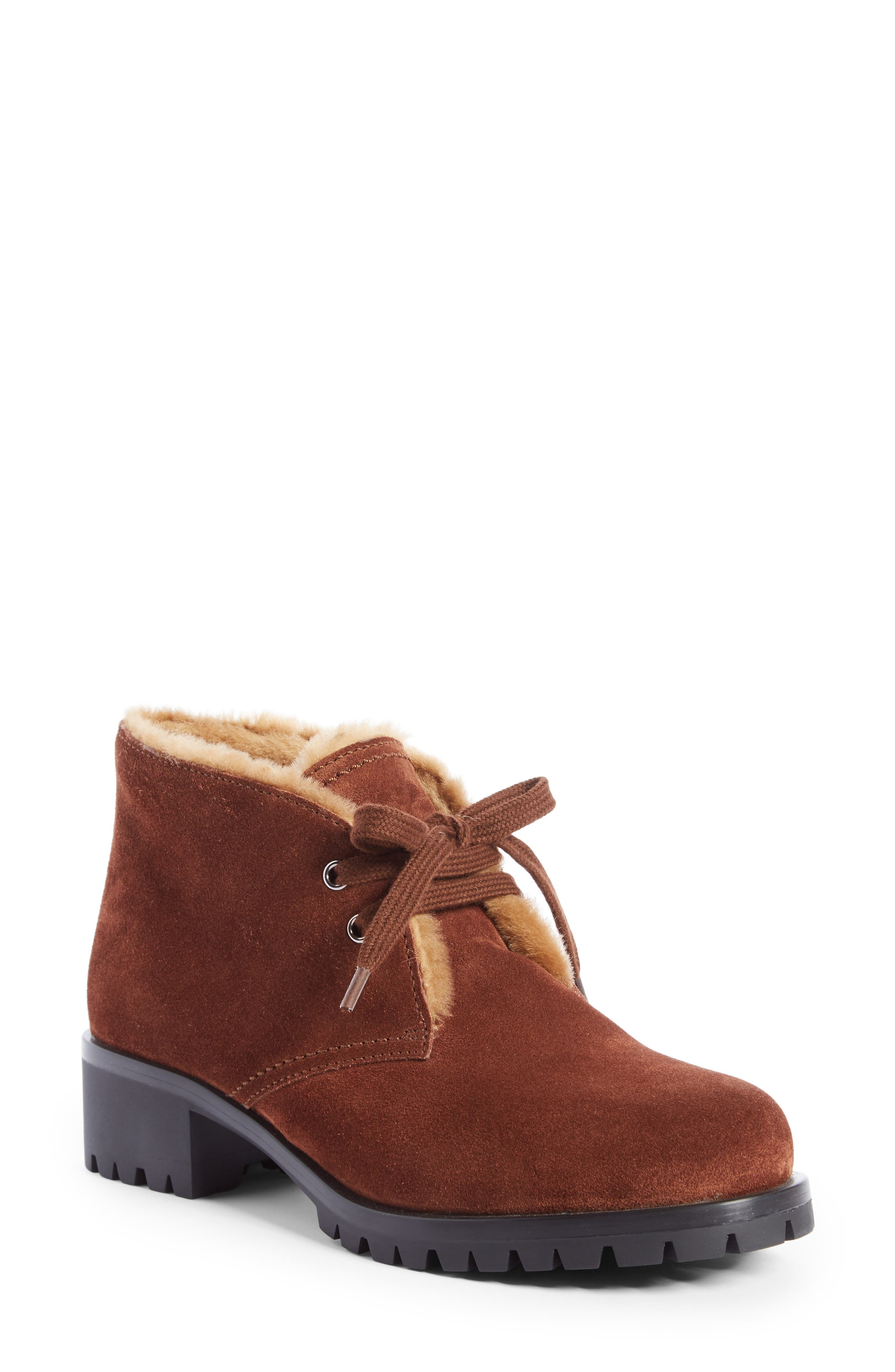 Prada Genuine Shearling Lined Bootie (Women)