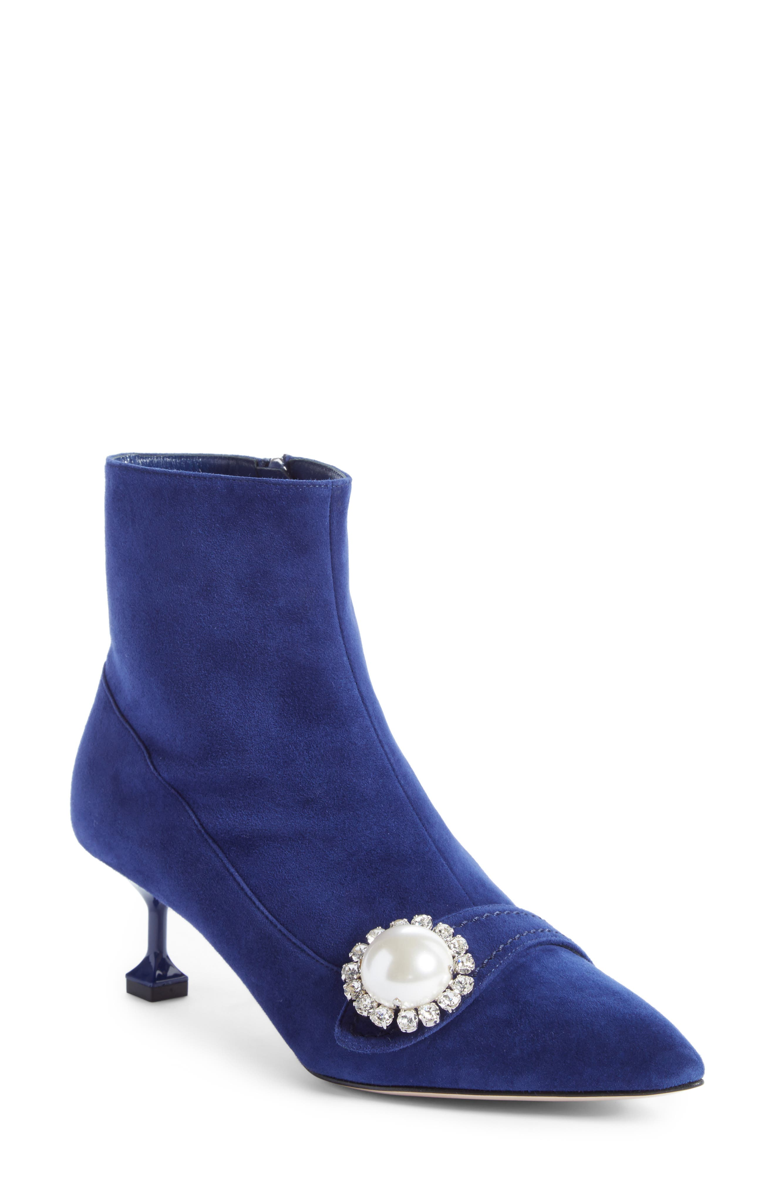 Miu Miu Embellished Pointy Toe Bootie (Women)