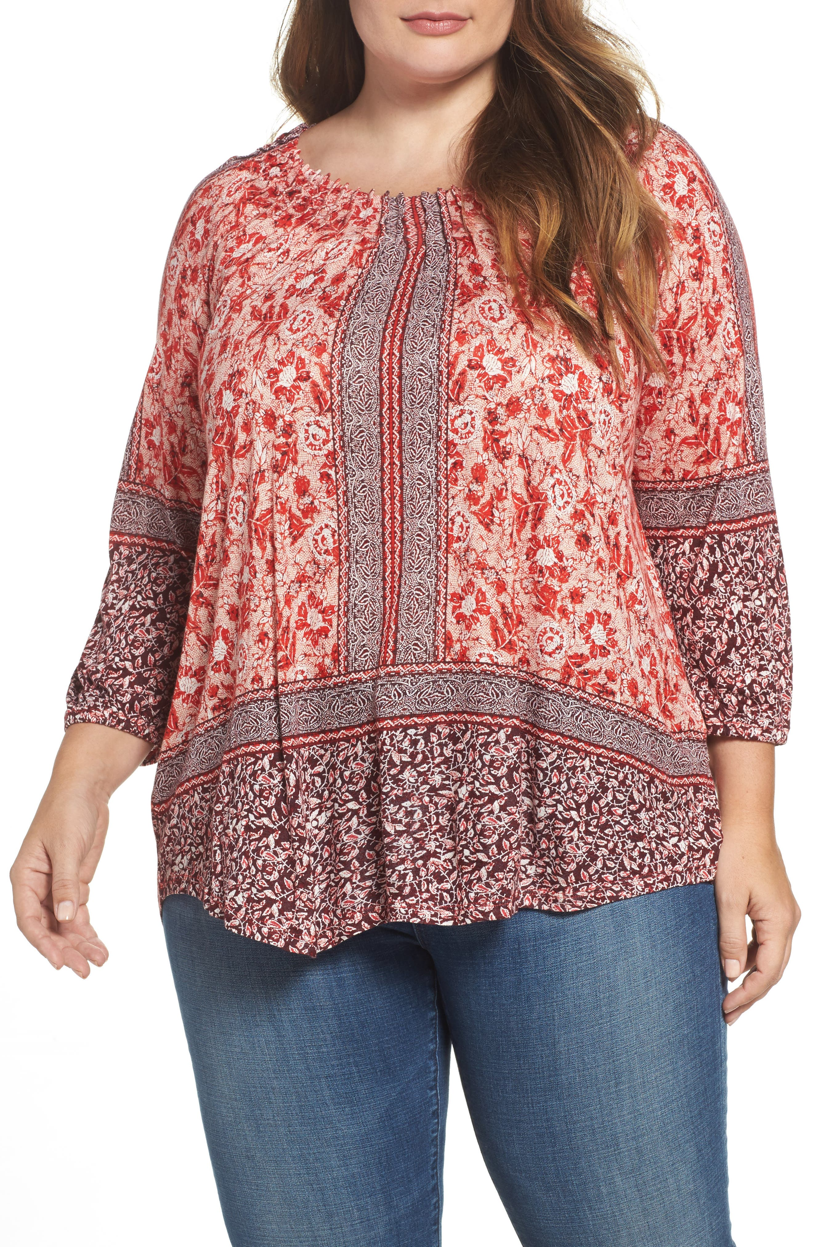 Lucky Brand Border Print Peasant Top (Plus Size)