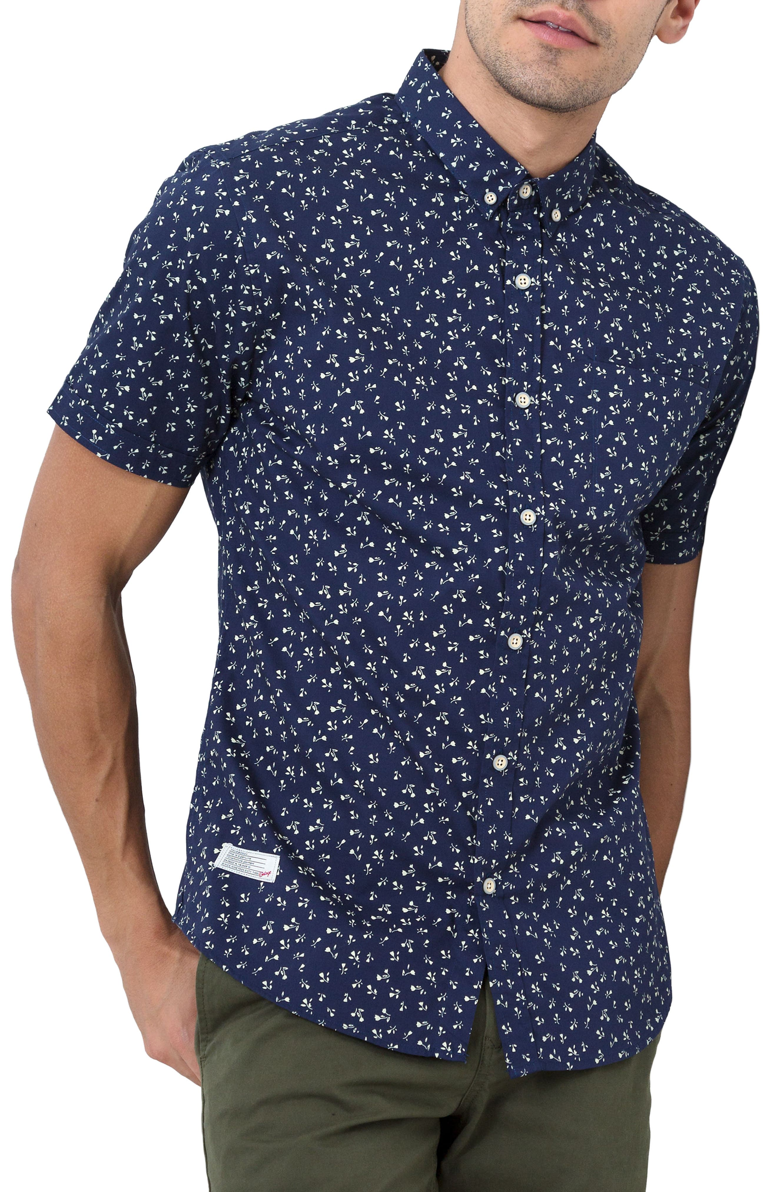 7 Diamonds Editions of You Trim Fit Short Sleeve Floral Print Woven Shirt