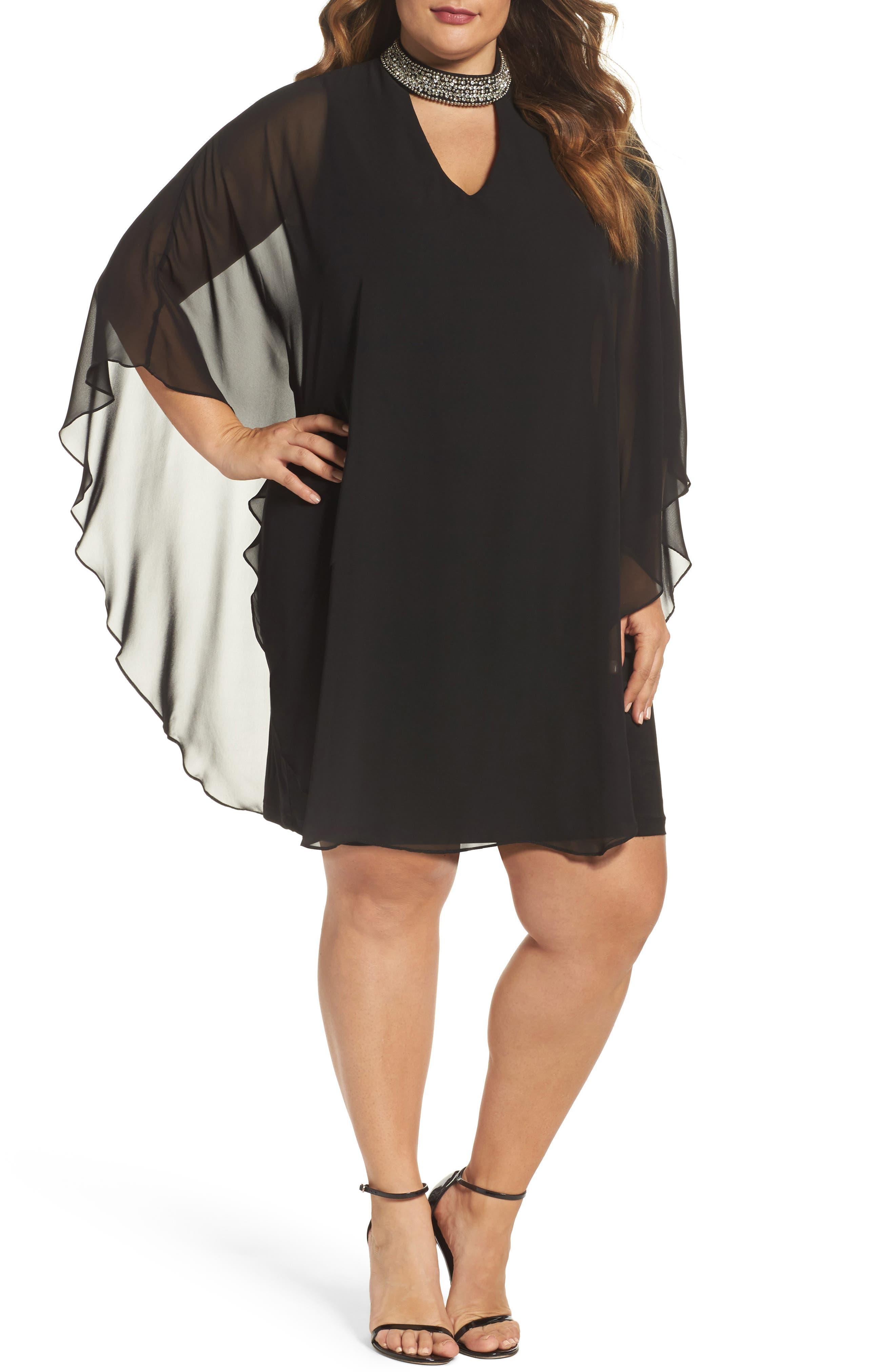 Xscape Embellished Collar Chiffon Overlay Shift Dress (Plus Size)