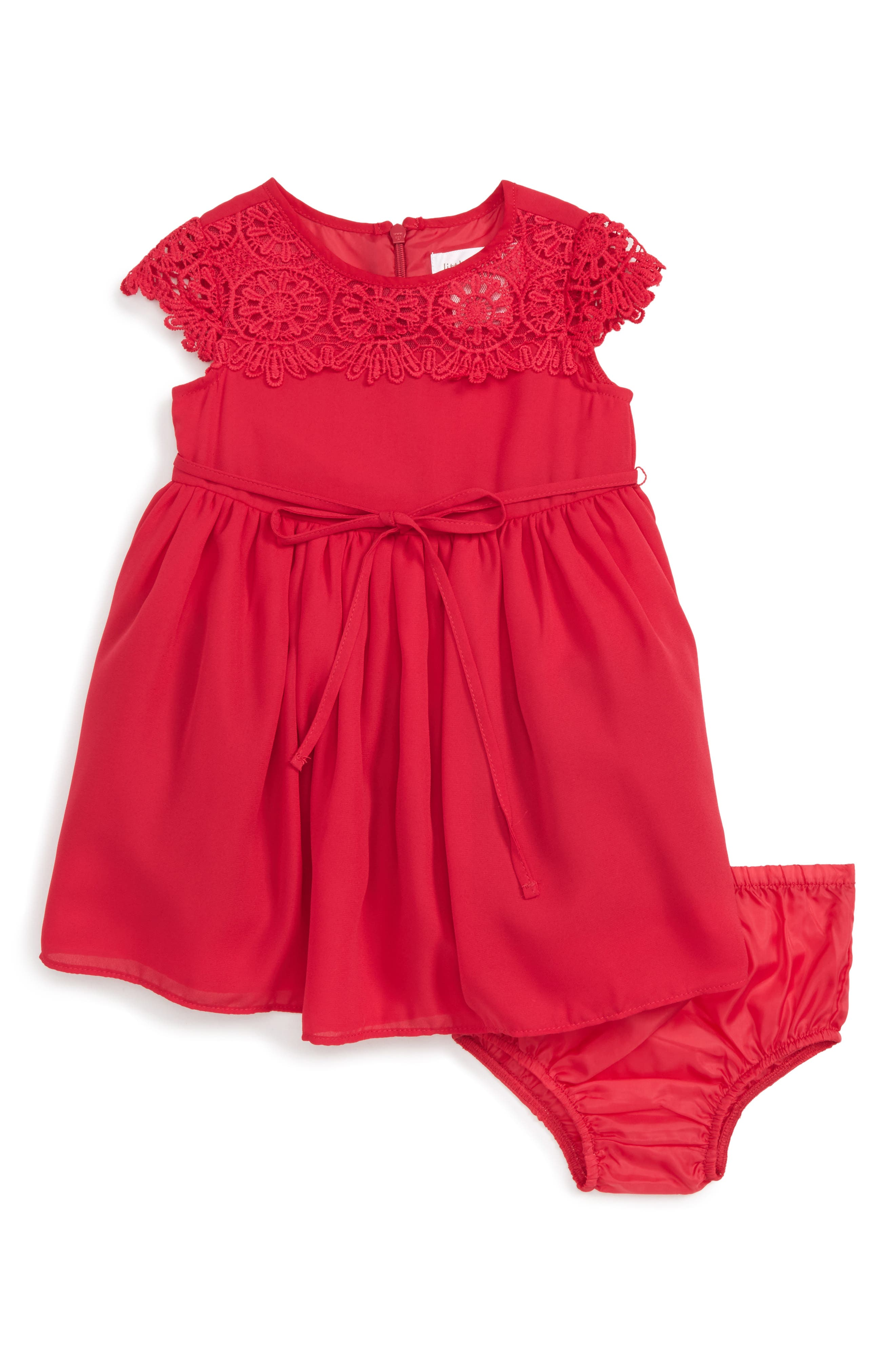 Us Angels Lace Yoke Chiffon Dress (Baby Girls)