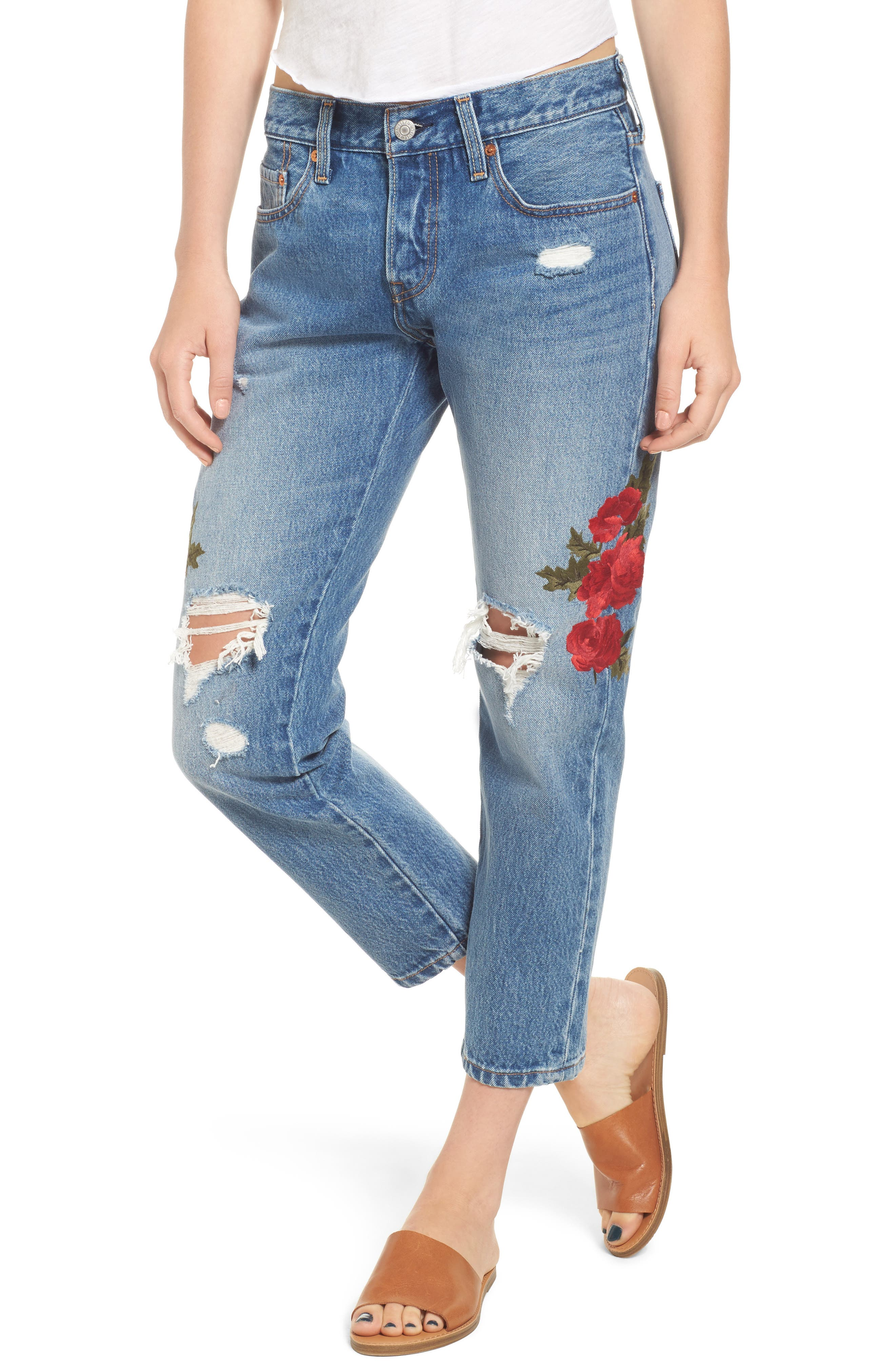Levi's® 501 Floral Embroidered Crop Taper Jeans