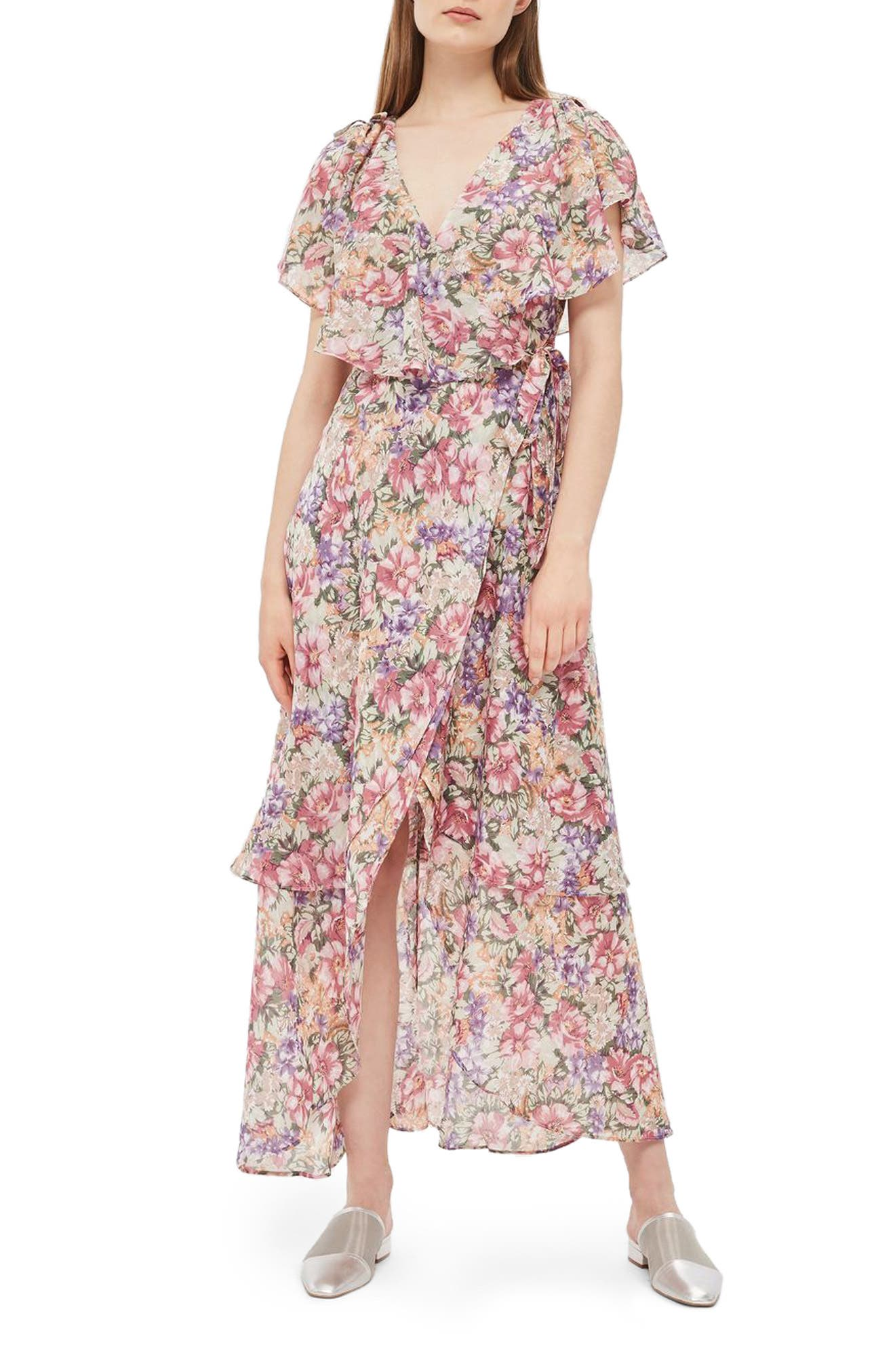 Topshop Floral Ruffle Wrap Maxi Dress