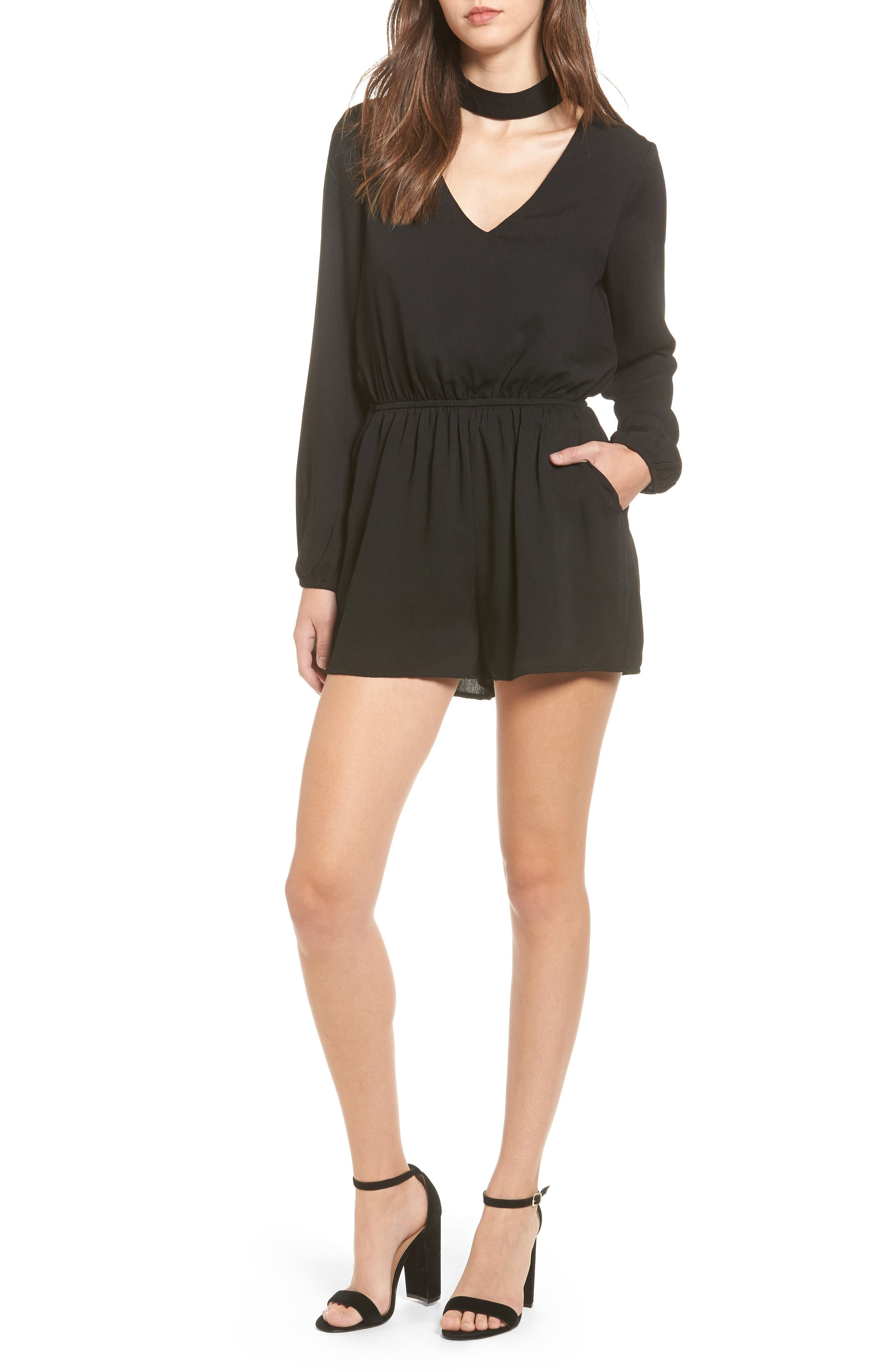 One Clothing Bell Sleeve Choker Neck Romper