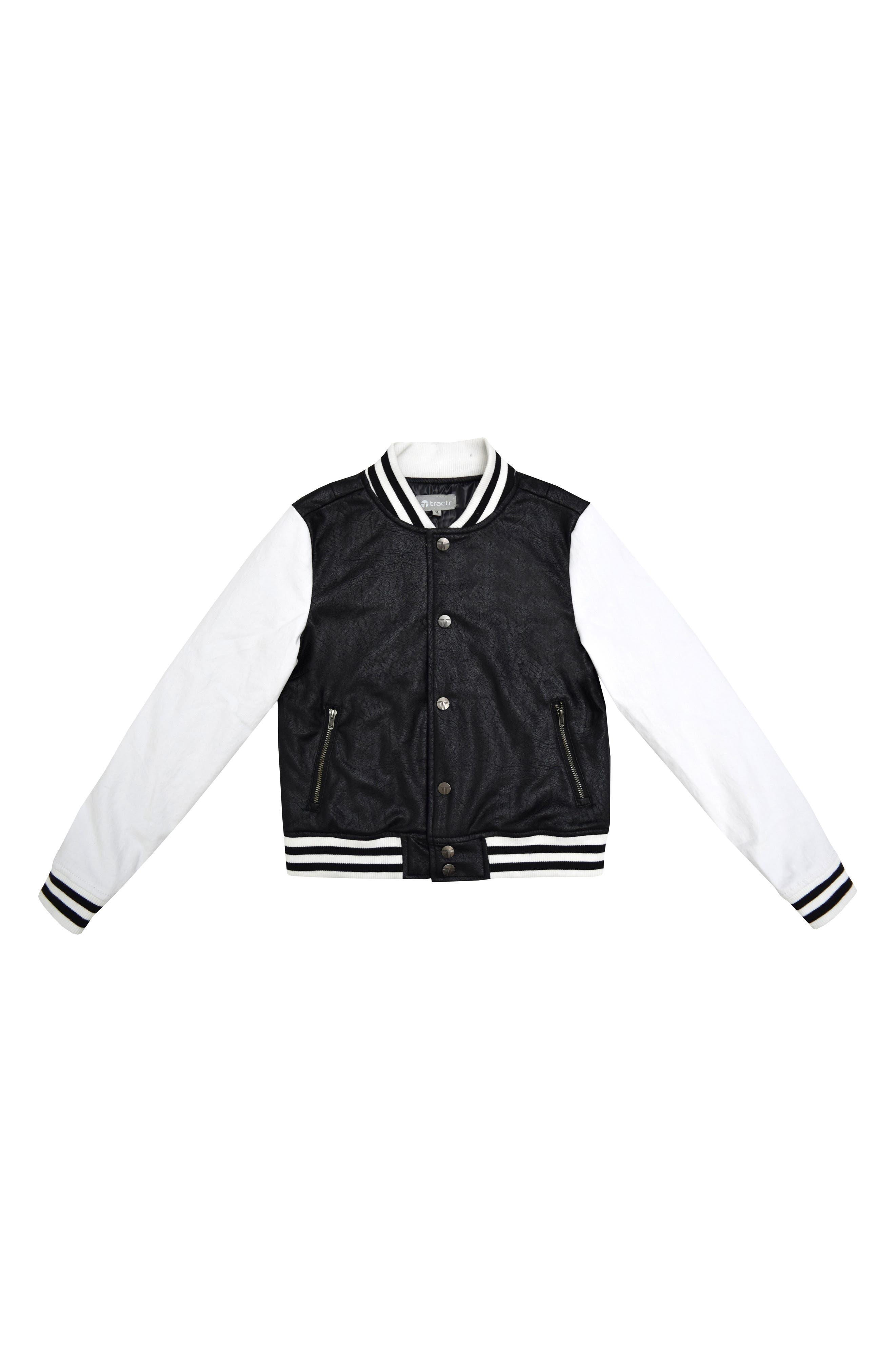 Tractr Mixed Media Bomber Jacket (Big Girls)